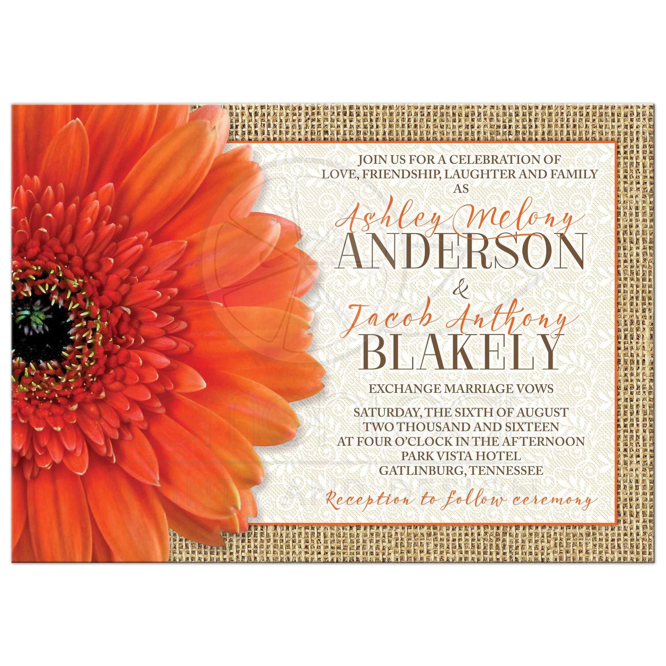 Rustic Orange Daisy Burlap Lace Wedding Invitation