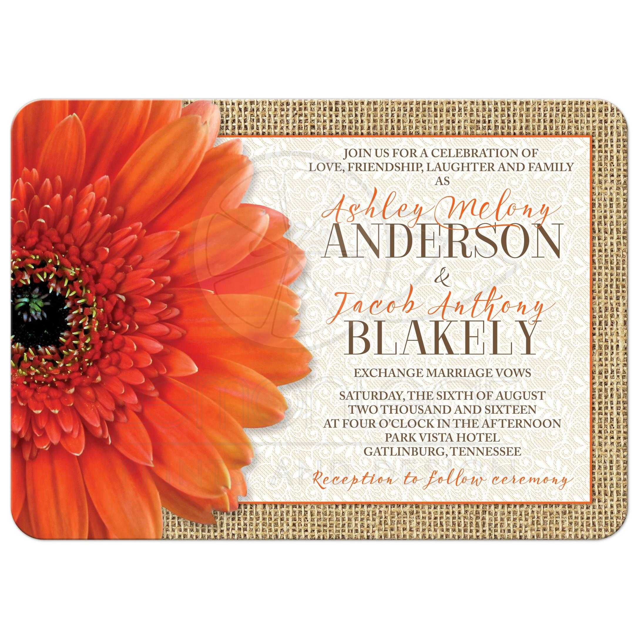 gerbera daisy burlap and lace rustic wedding invitation front - Daisy Wedding Invitations