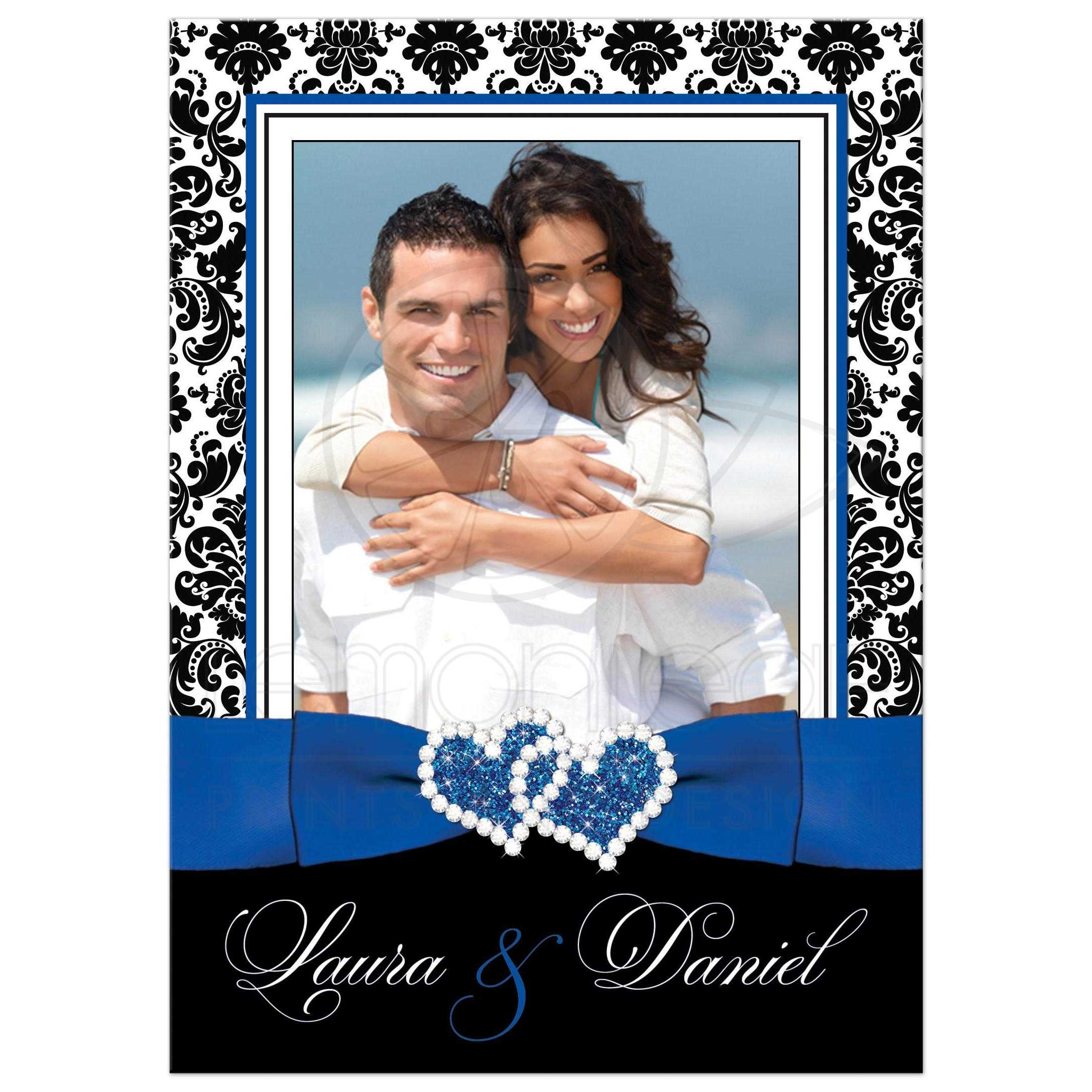 PHOTO Template Wedding Invitation Royal Blue White Black Damask