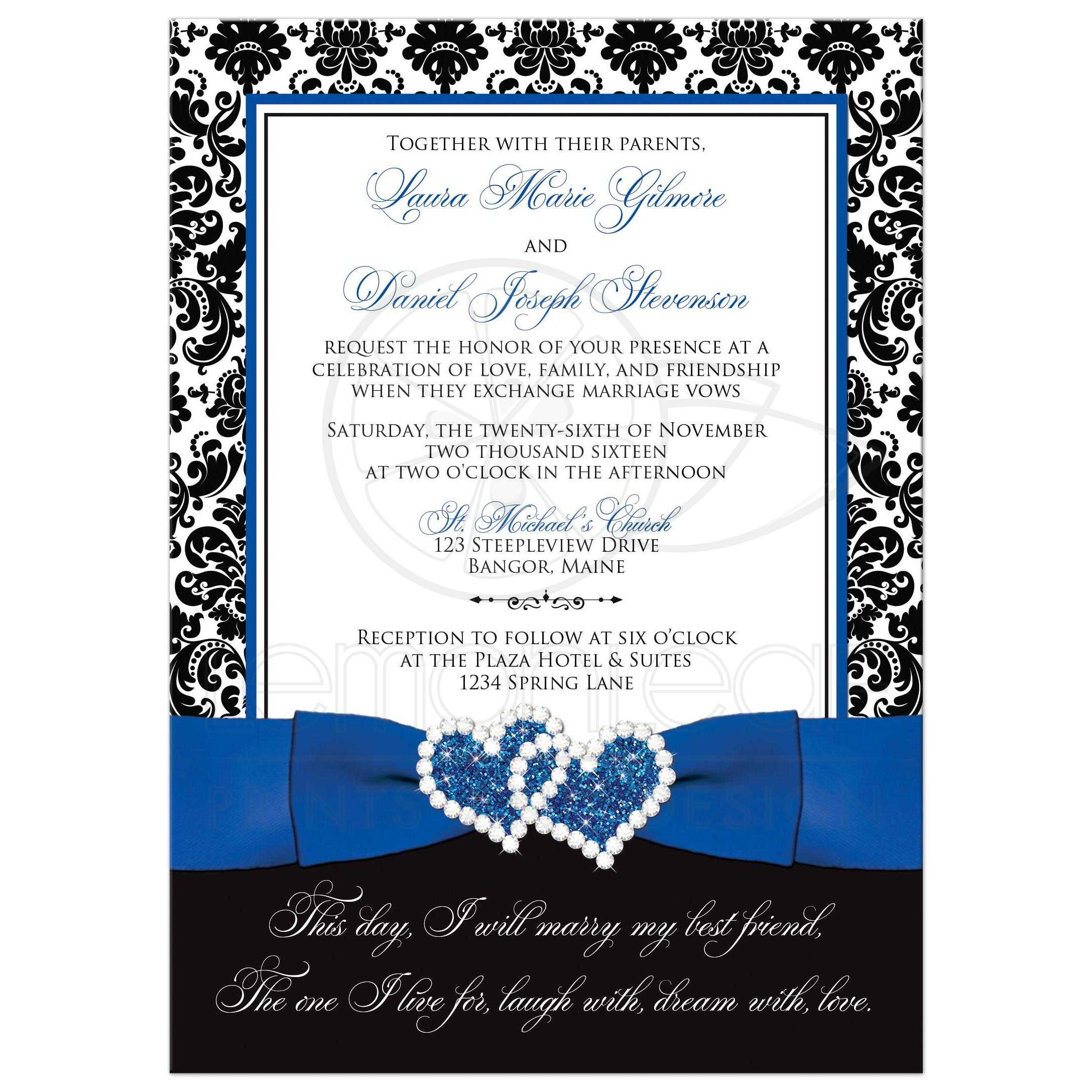 Best Royal Blue Black And White Damask Photo Template Wedding Invites With Ribbon
