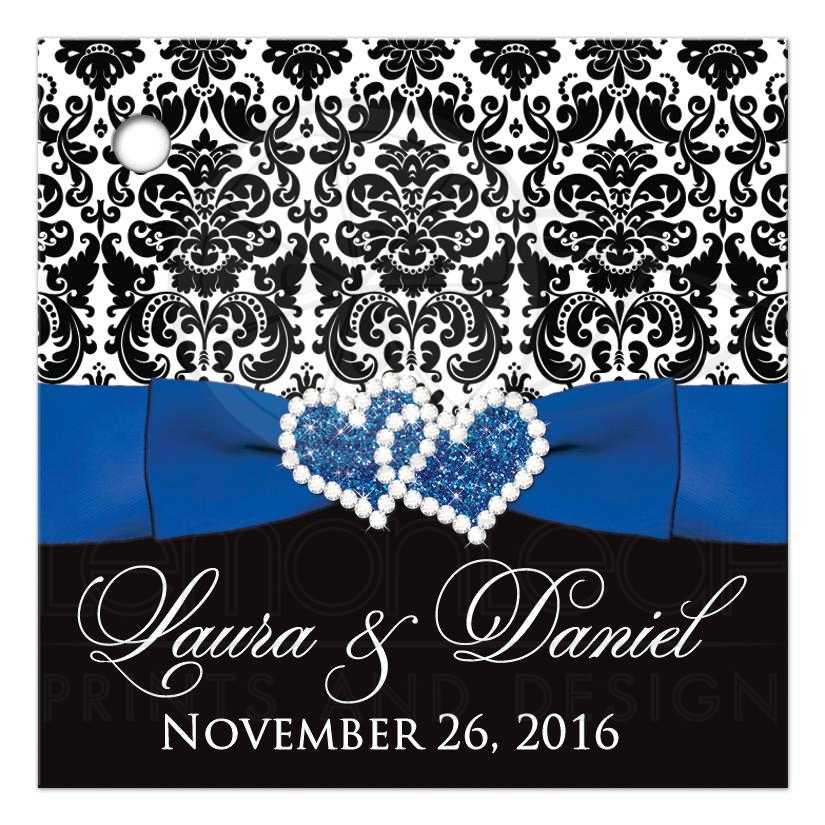 Personalized Wedding Favor Thank You Tag   Black and White Damask ...