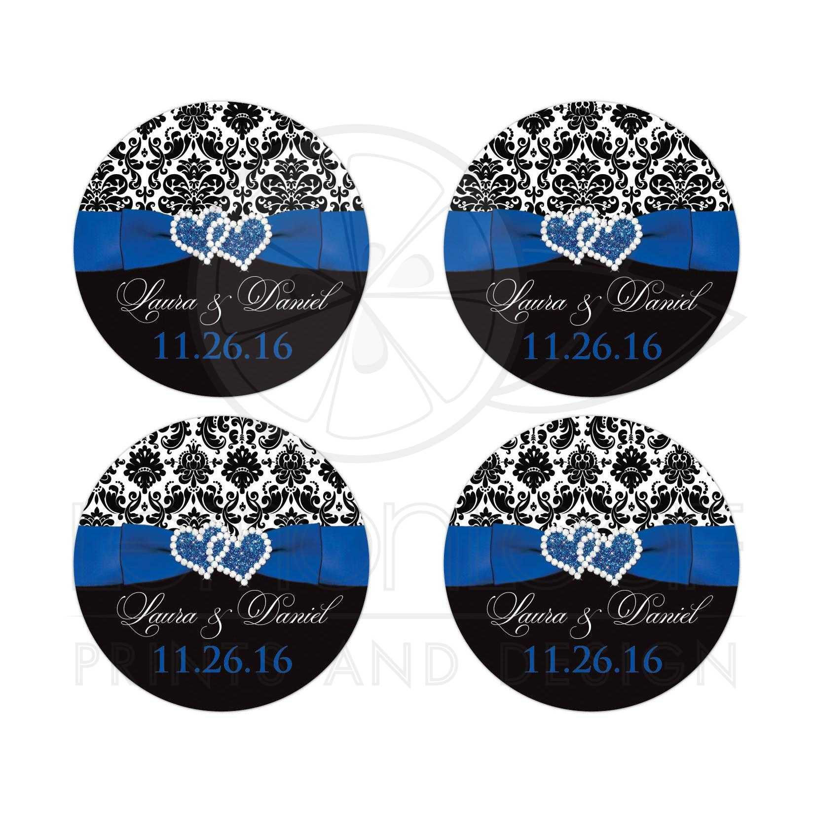 Best Royal Blue Black And White Damask Wedding Favor Stickers With Ribbon Bow