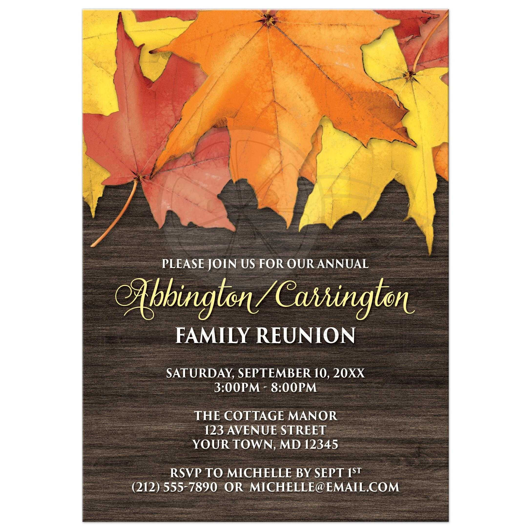 Family Reunion Invitations - Rustic Autumn Leaves and Wood
