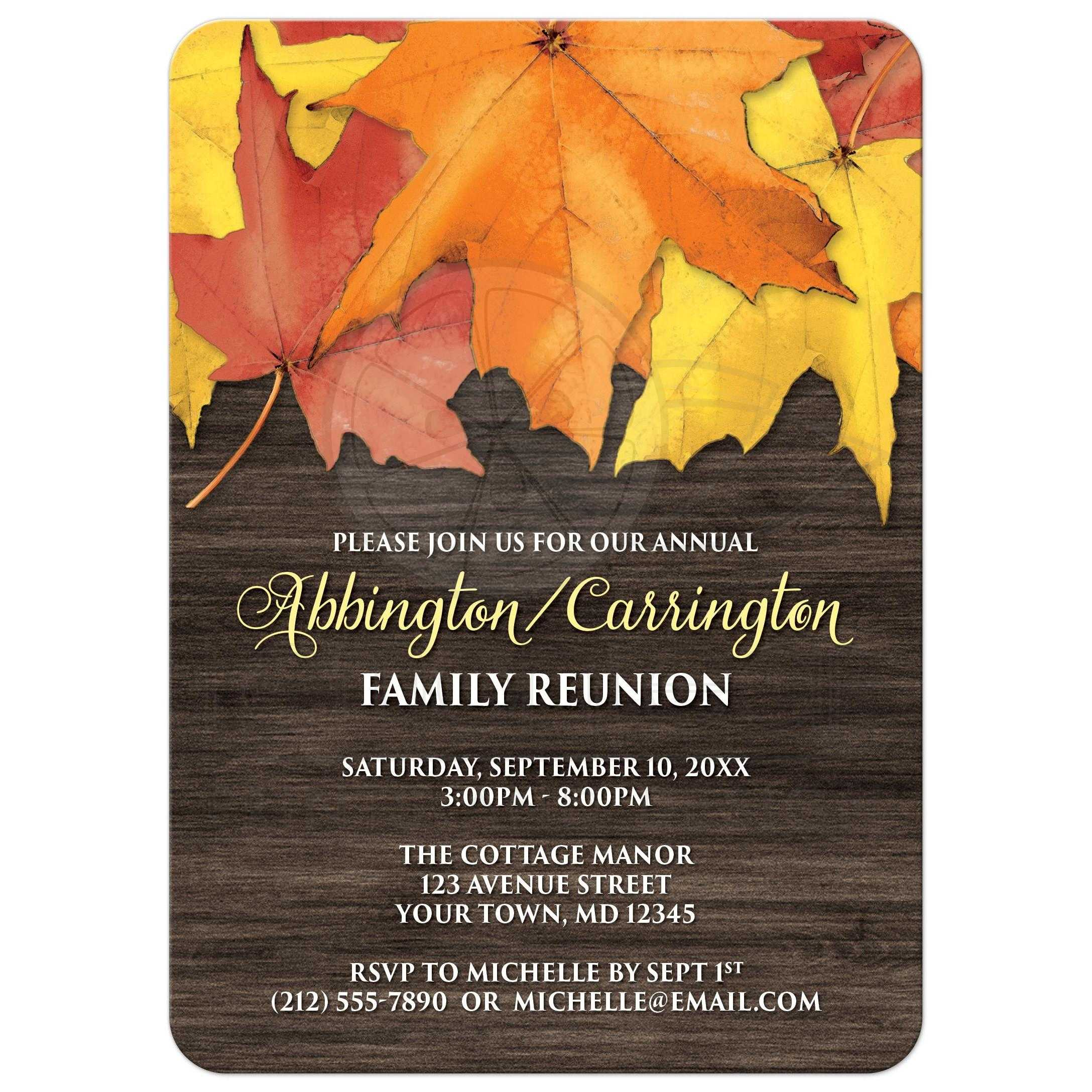 Family Reunion Invitations   Rustic Autumn Leaves And Wood Within Family Reunion Invitation Cards