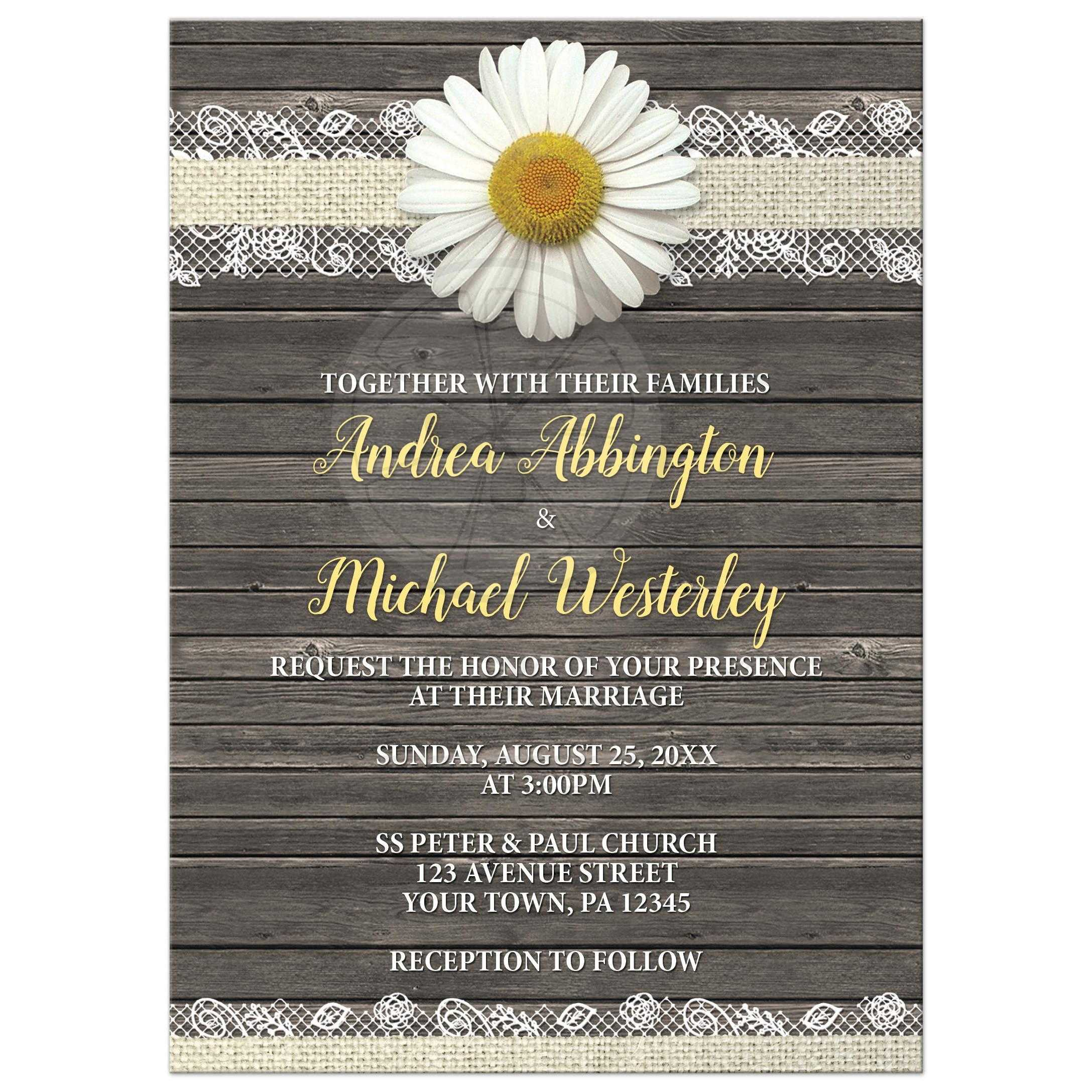 wedding invitations daisy burlap and lace wood - Daisy Wedding Invitations