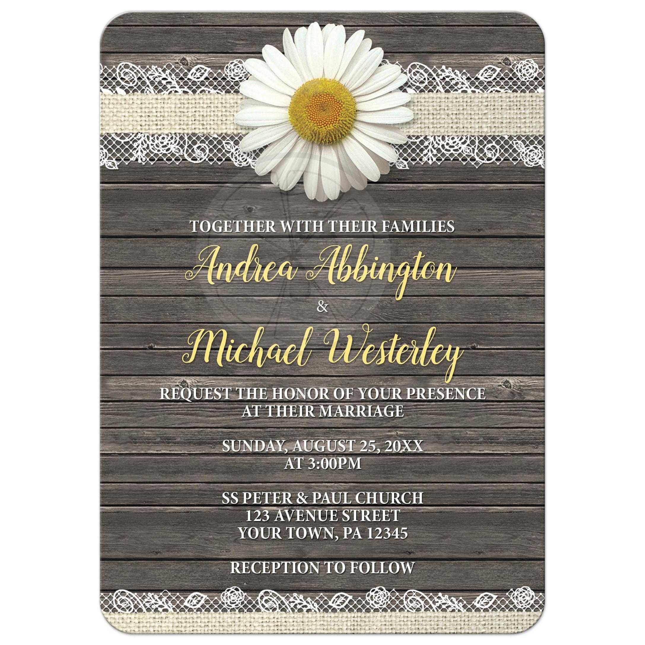 invitations - daisy burlap and lace wood, Wedding invitations