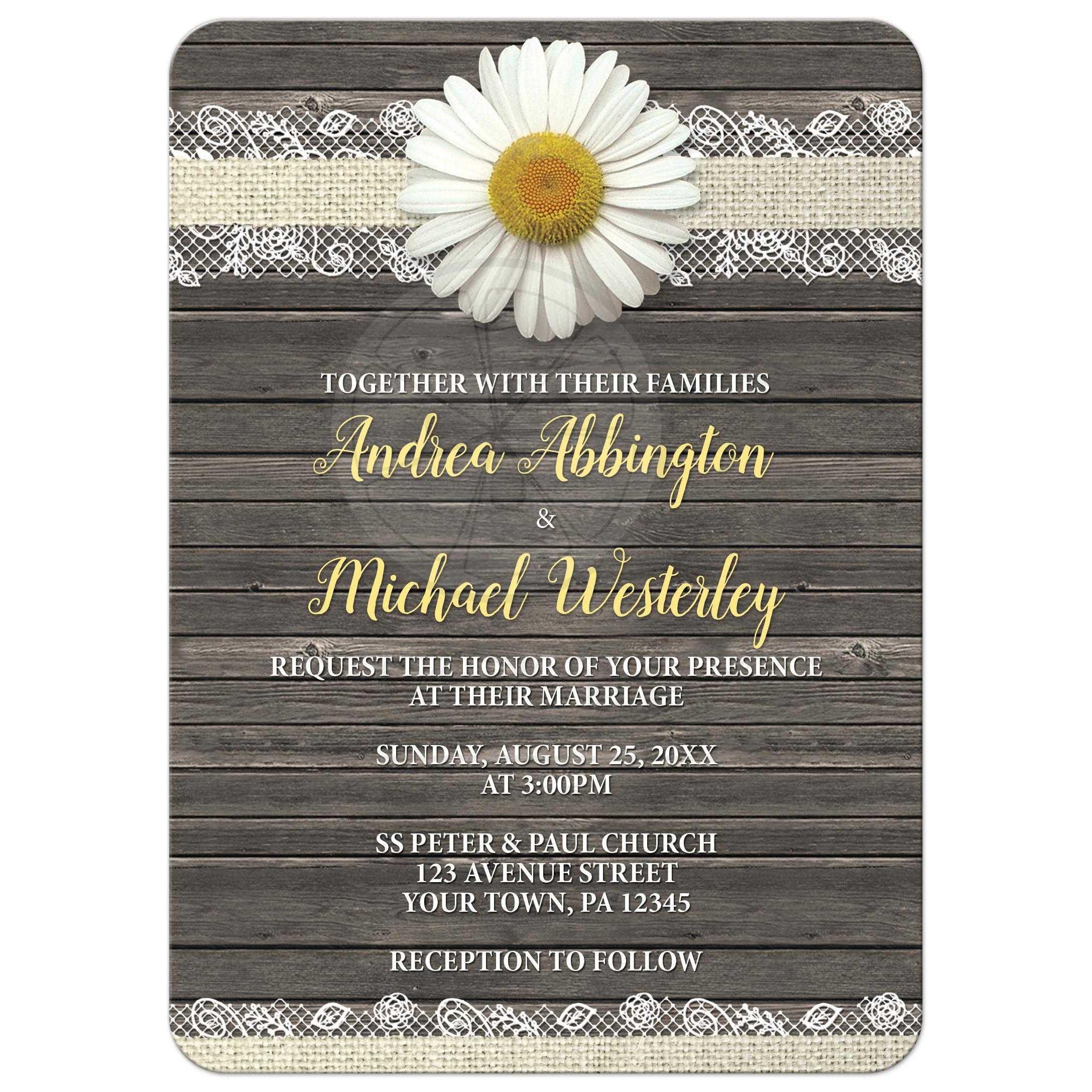 Superb Wedding Invitations   Daisy Burlap And Lace Wood