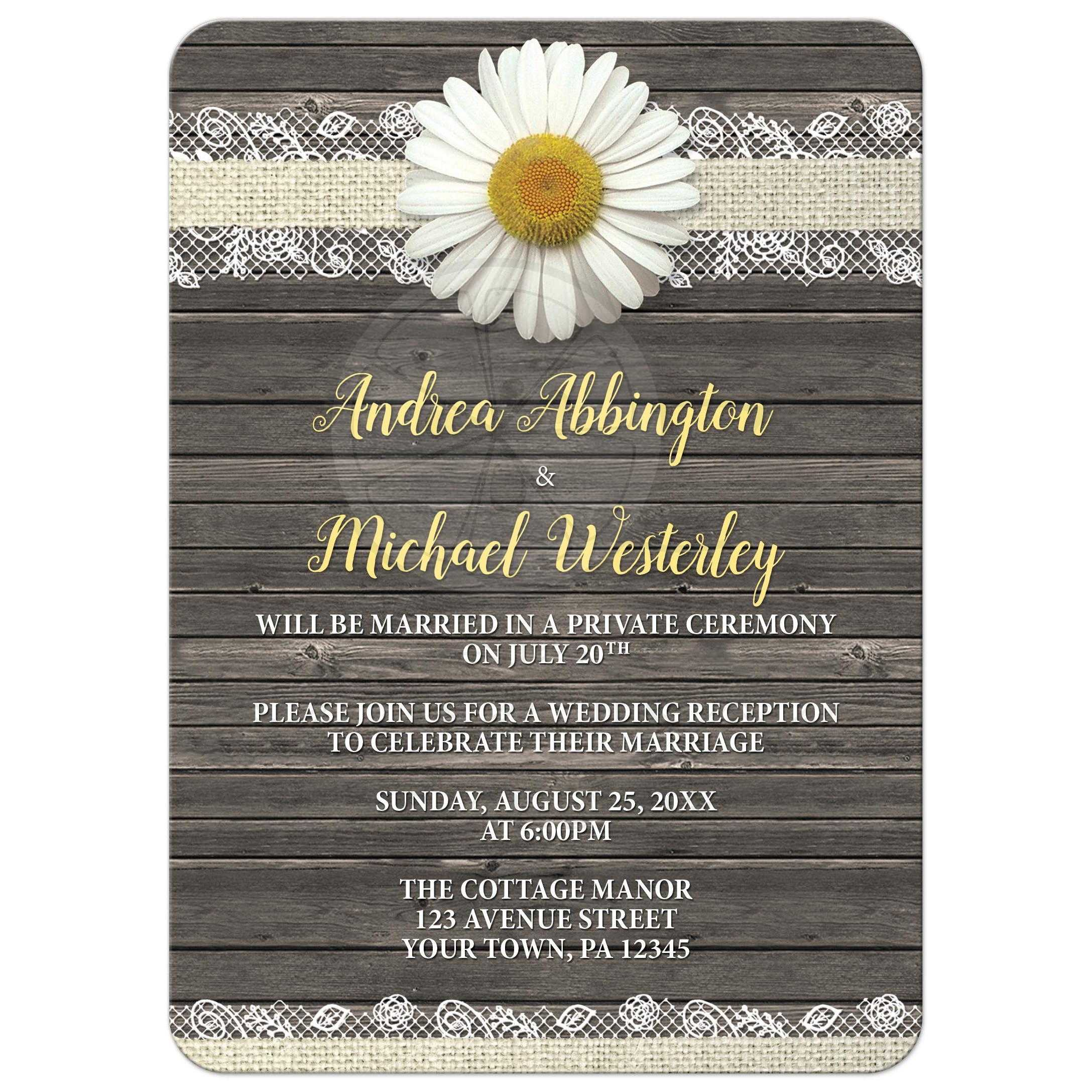 Reception Only Invitations Daisy Burlap and Lace Wood
