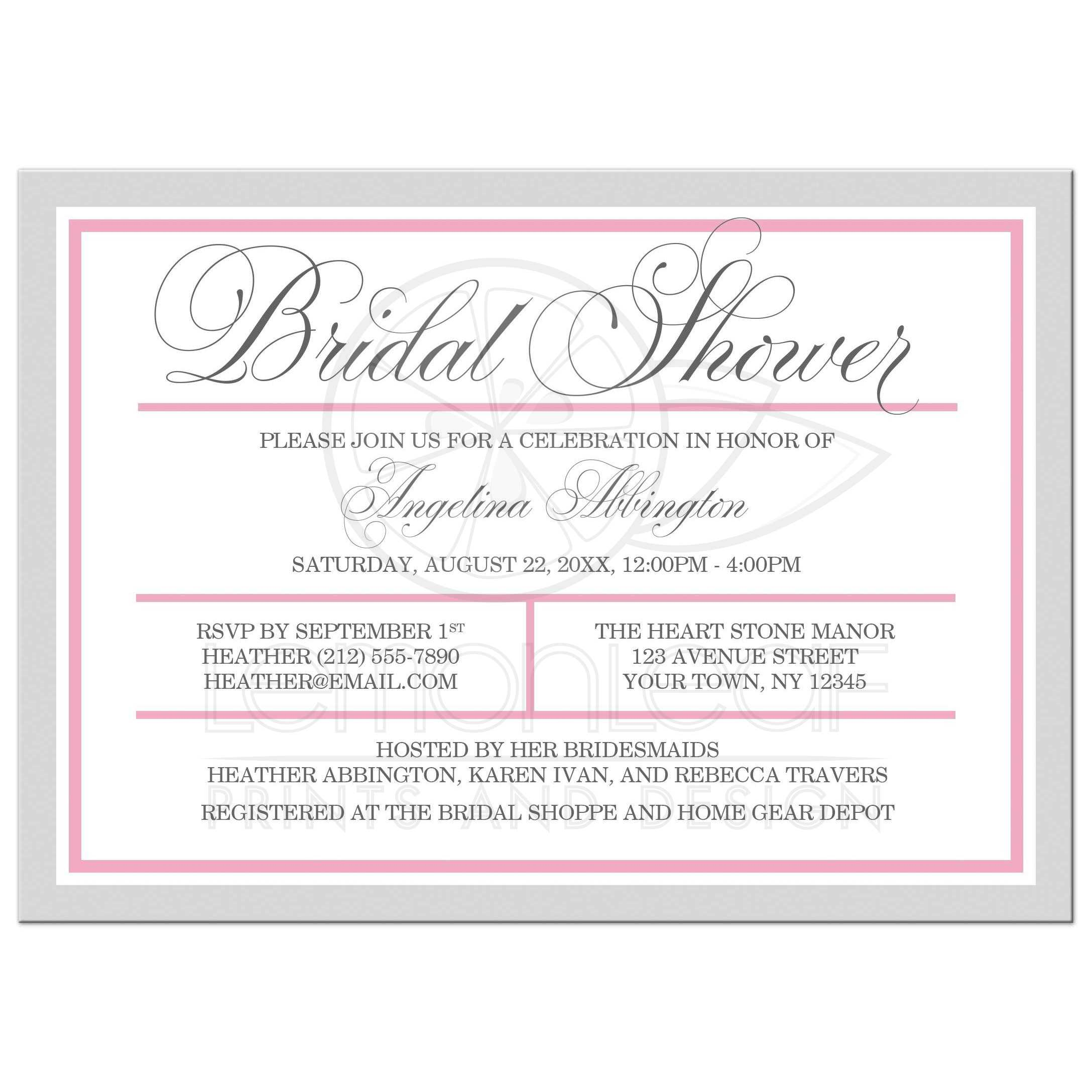 Bridal Shower Invitations - Modern Pink and Gray
