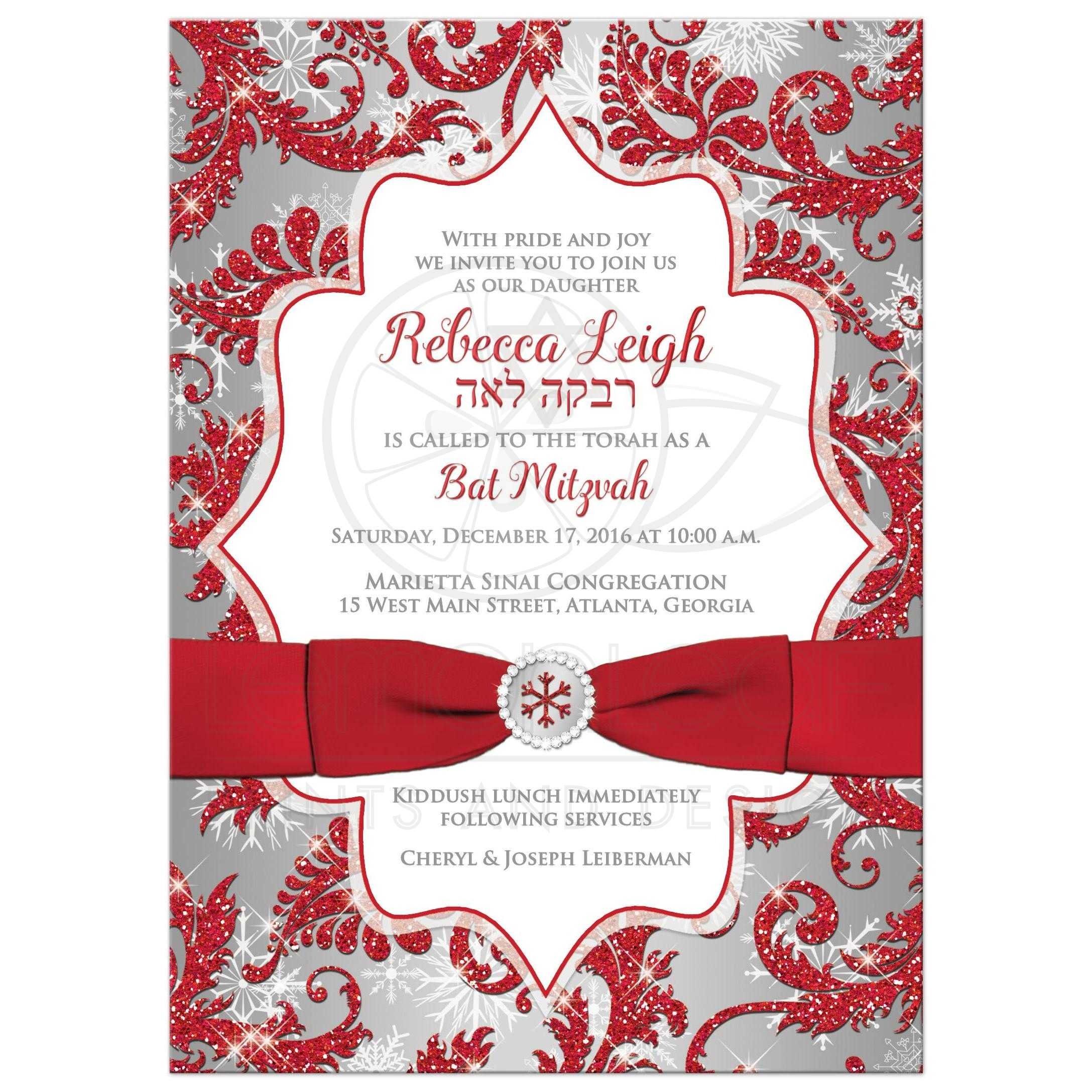 Bat Mitzvah Invitation Winter Wonderland Red Silver Faux Glitter