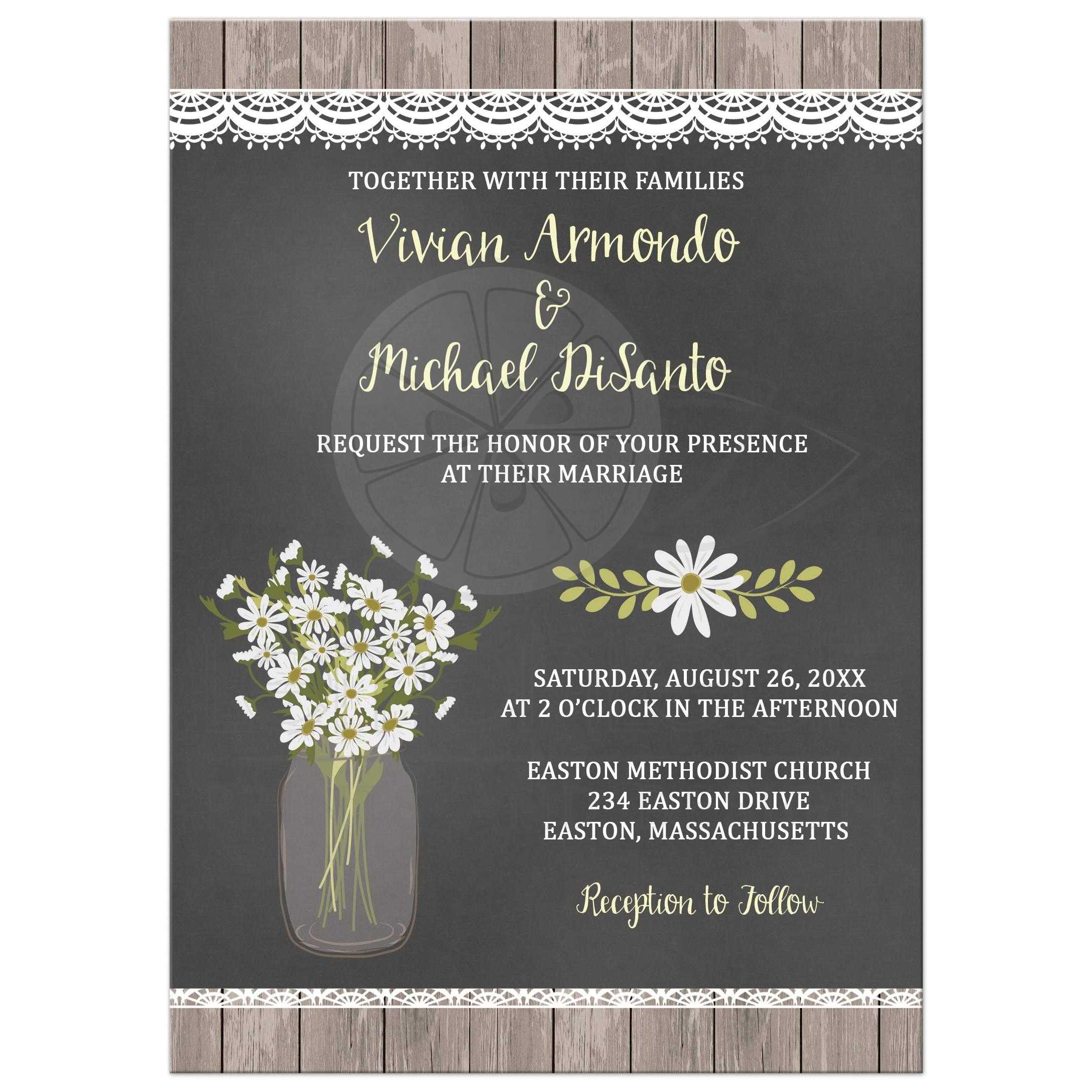 Rustic Daisy In Mason Jar Chalkboard Wedding Invitation