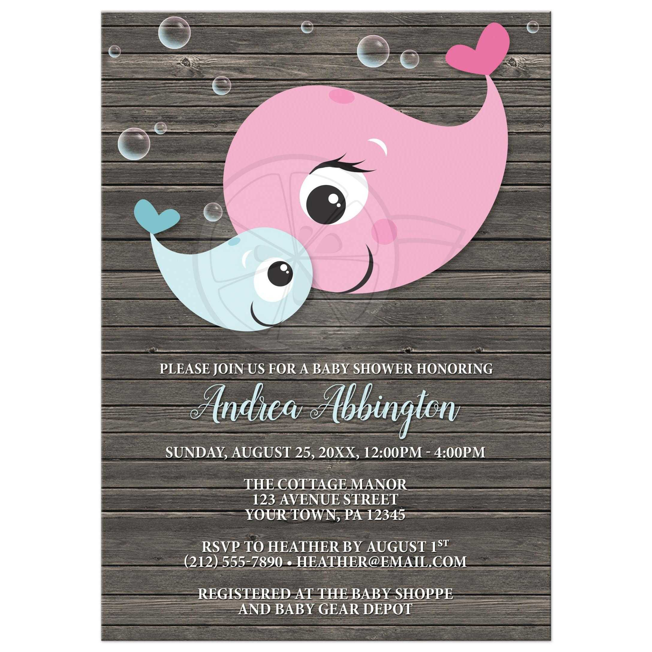 Baby Shower Invitations - Mommy Baby Whale Rustic Wood Boy