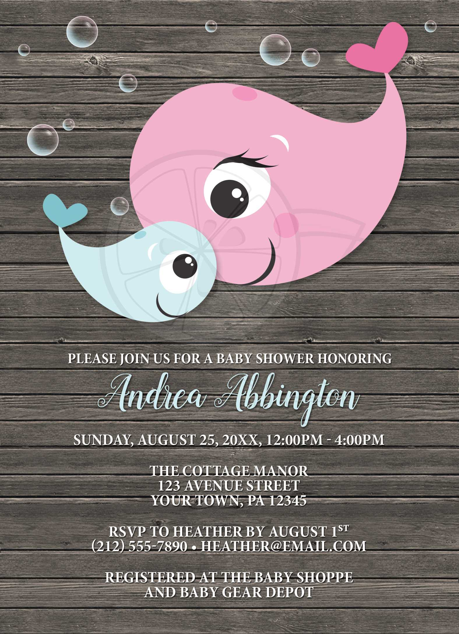 Baby Shower Invitations Mommy Baby Whale Rustic Wood Boy