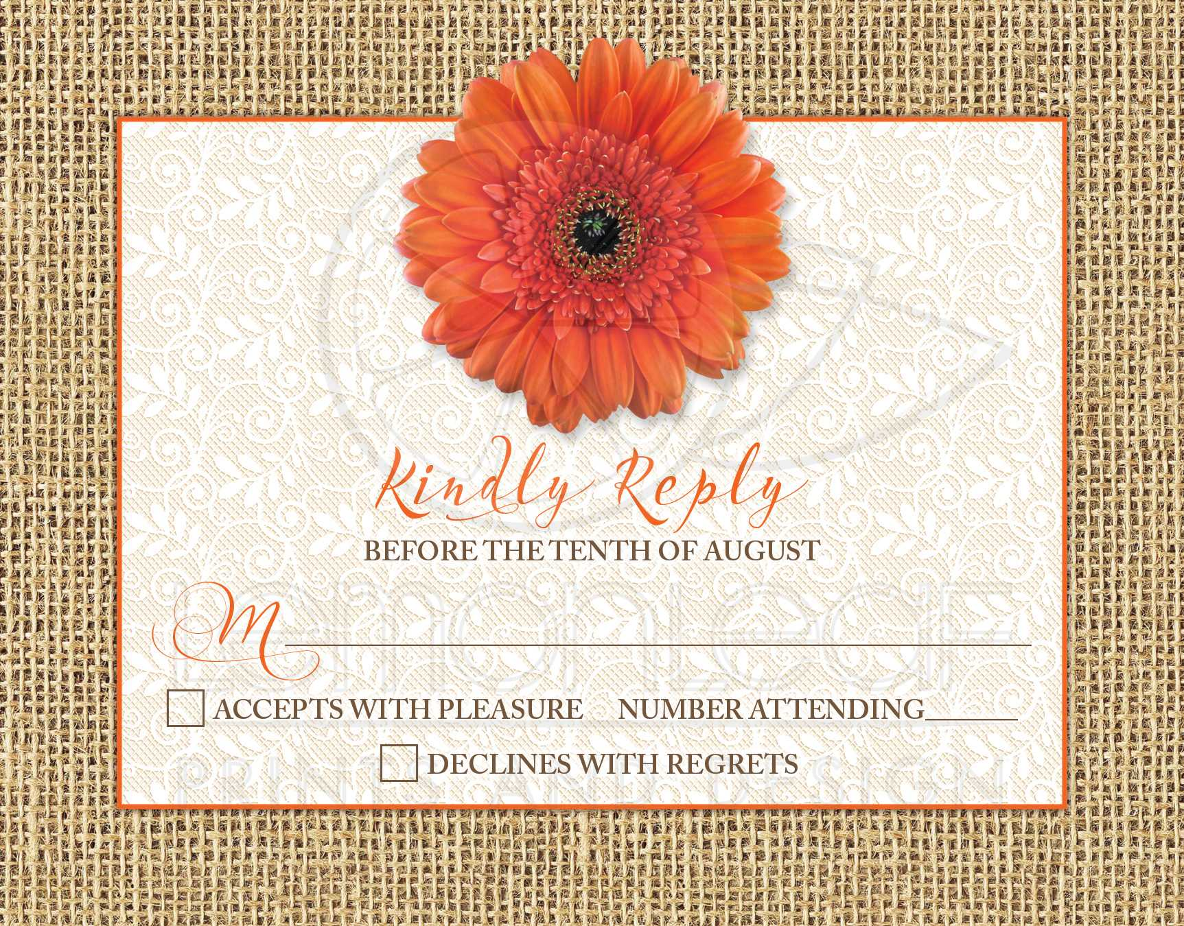 Rustic Orange Daisy Burlap Lace Wedding RSVP Card