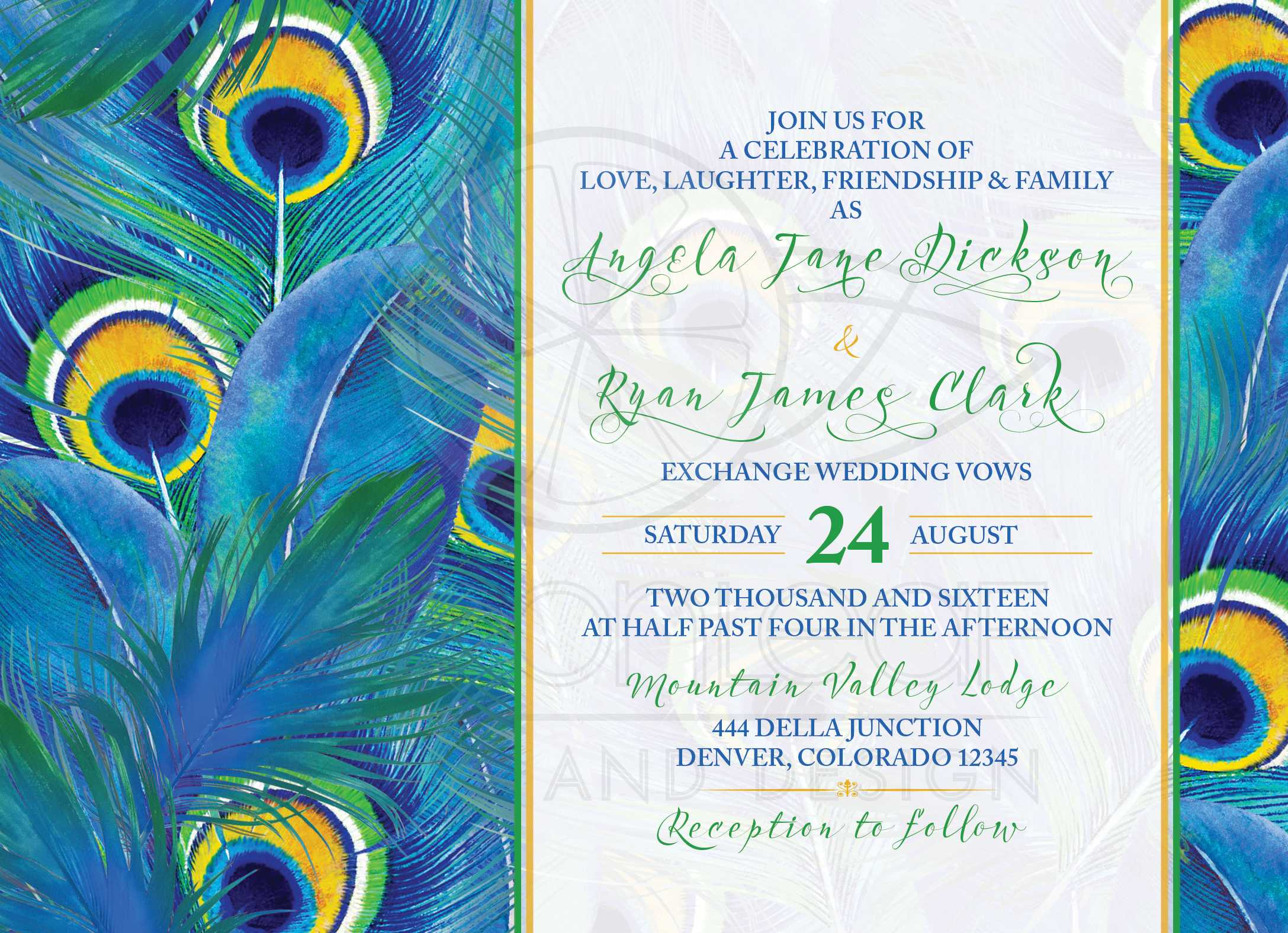 Peacock Feather Wedding Invitation Watercolor Blue Green Yellow