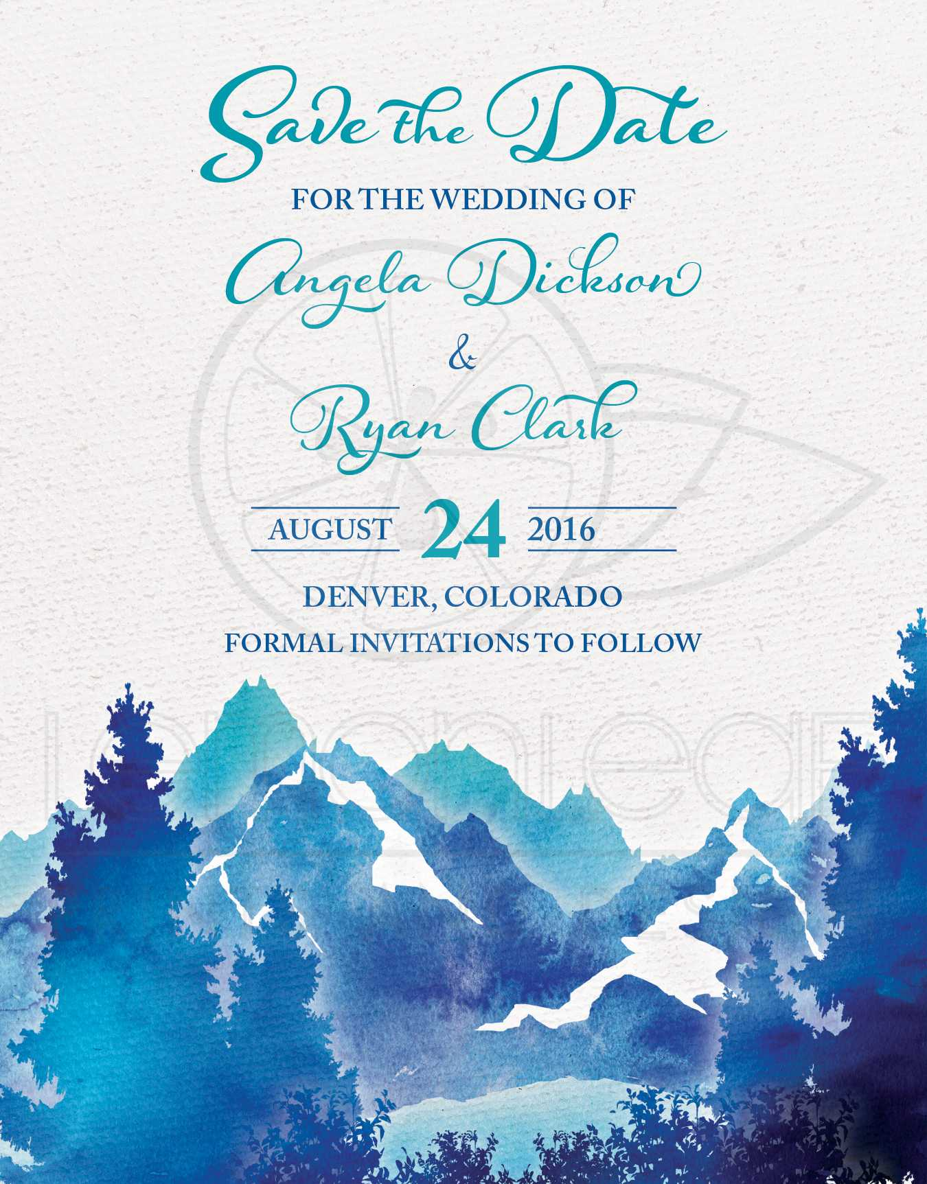 Mountain Wedding Save the Date Invitation Watercolor – Wedding Save the Date Card
