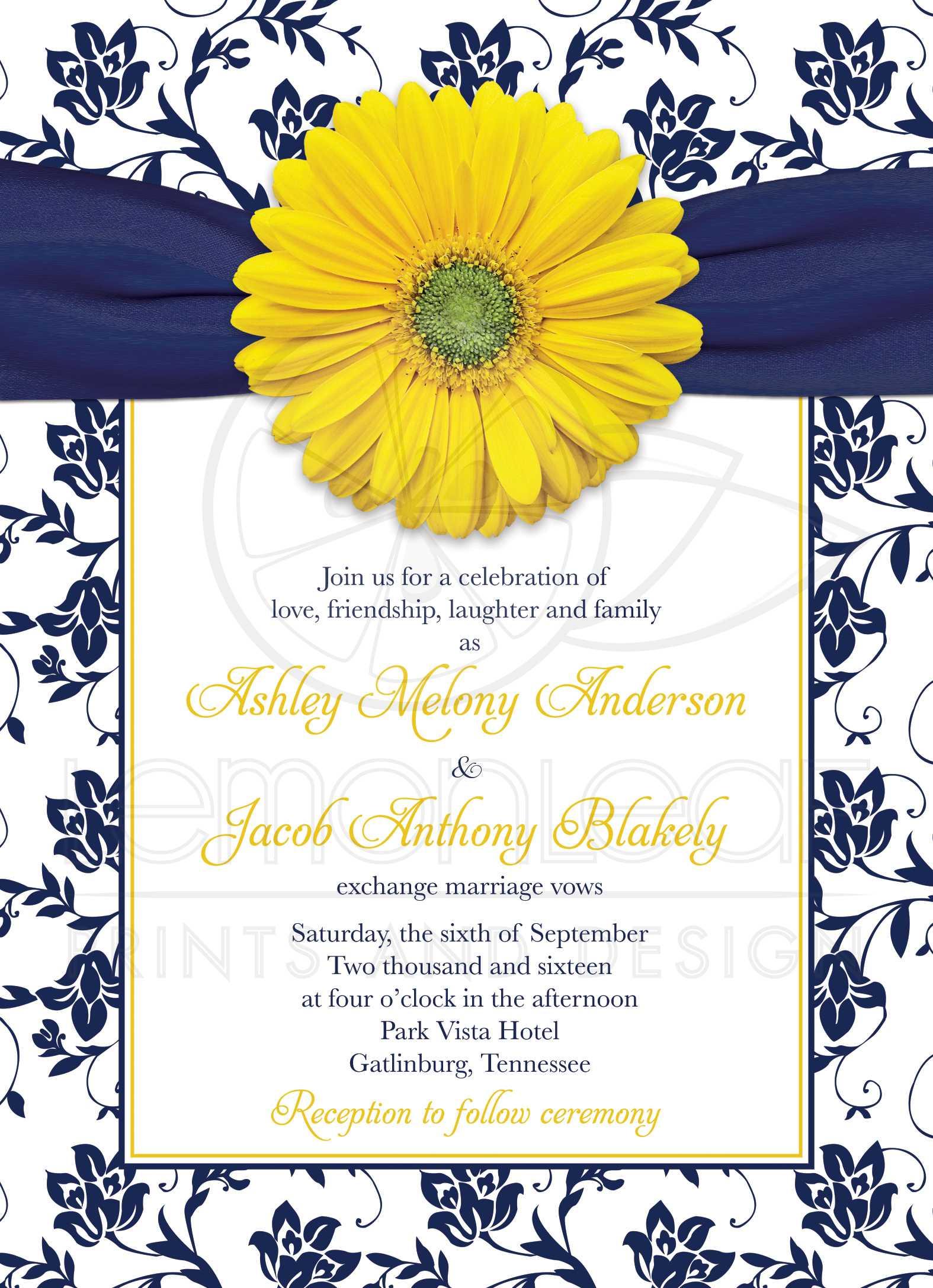 Yellow Daisy Navy Floral Wedding Invitation | Navy Blue Yellow Damask