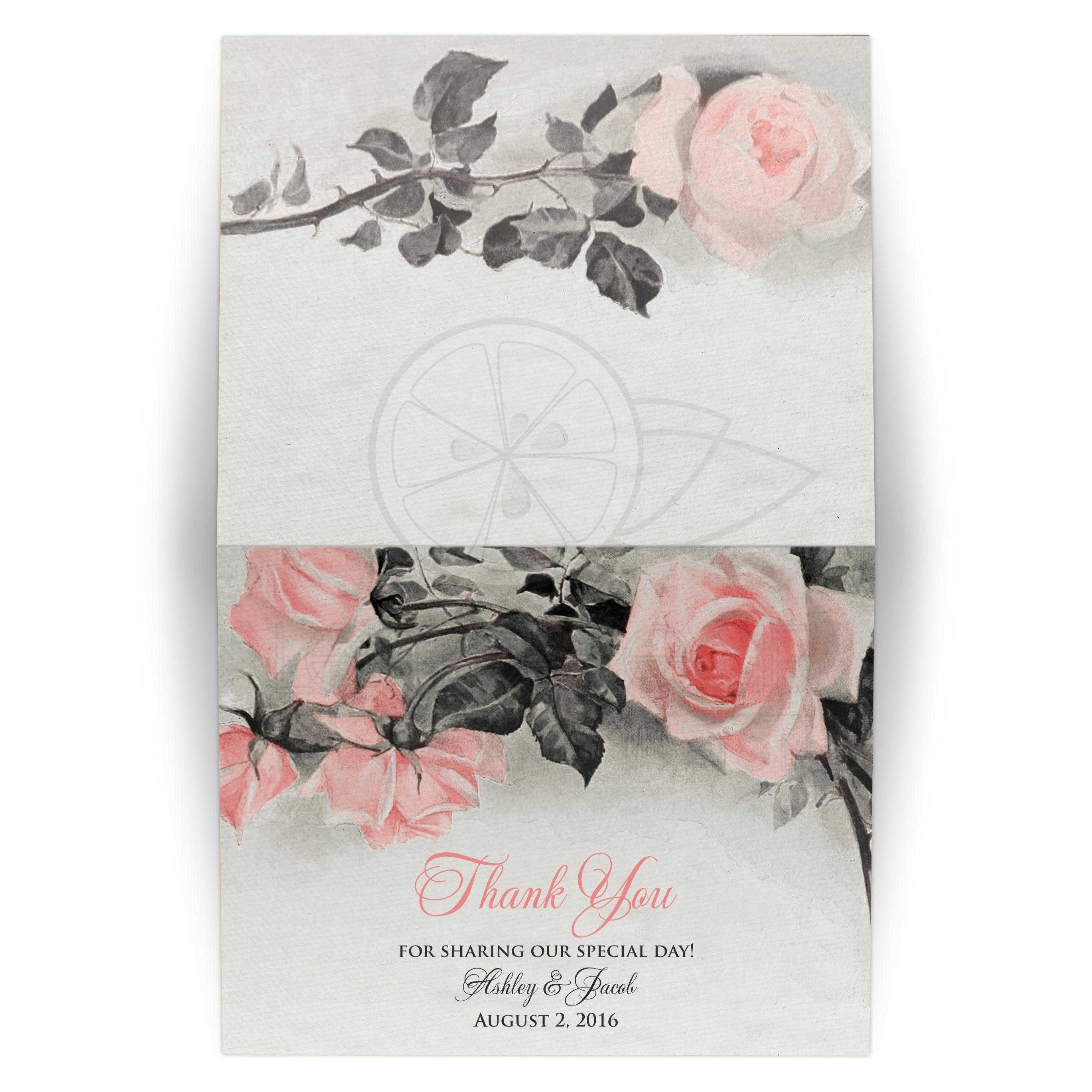Vintage Blush Pink And Gray Rose Wedding Thank You Card