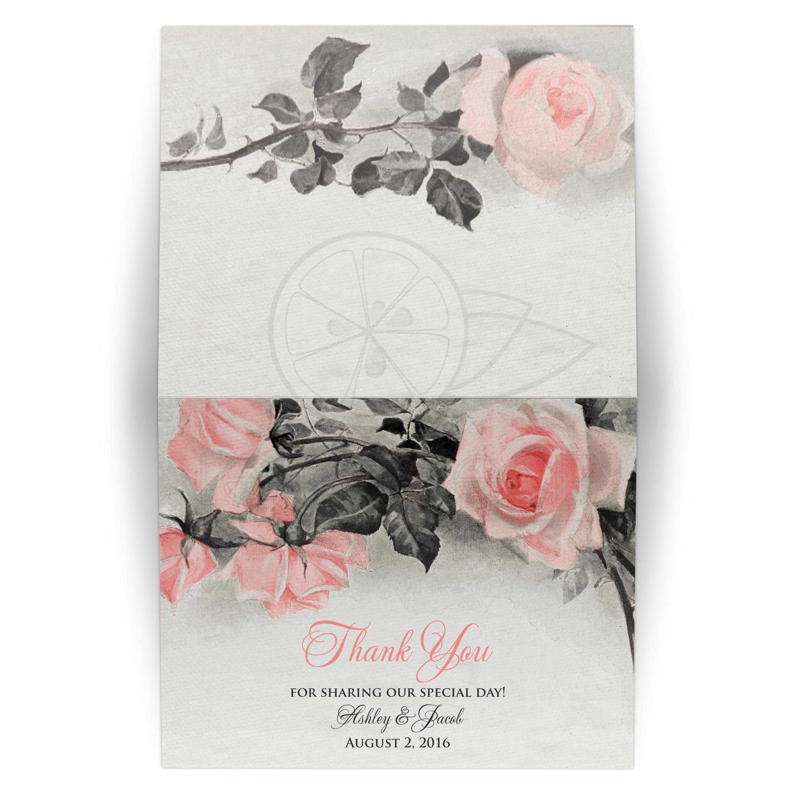 blush pink gray rose wedding thank you card vintage rose flower
