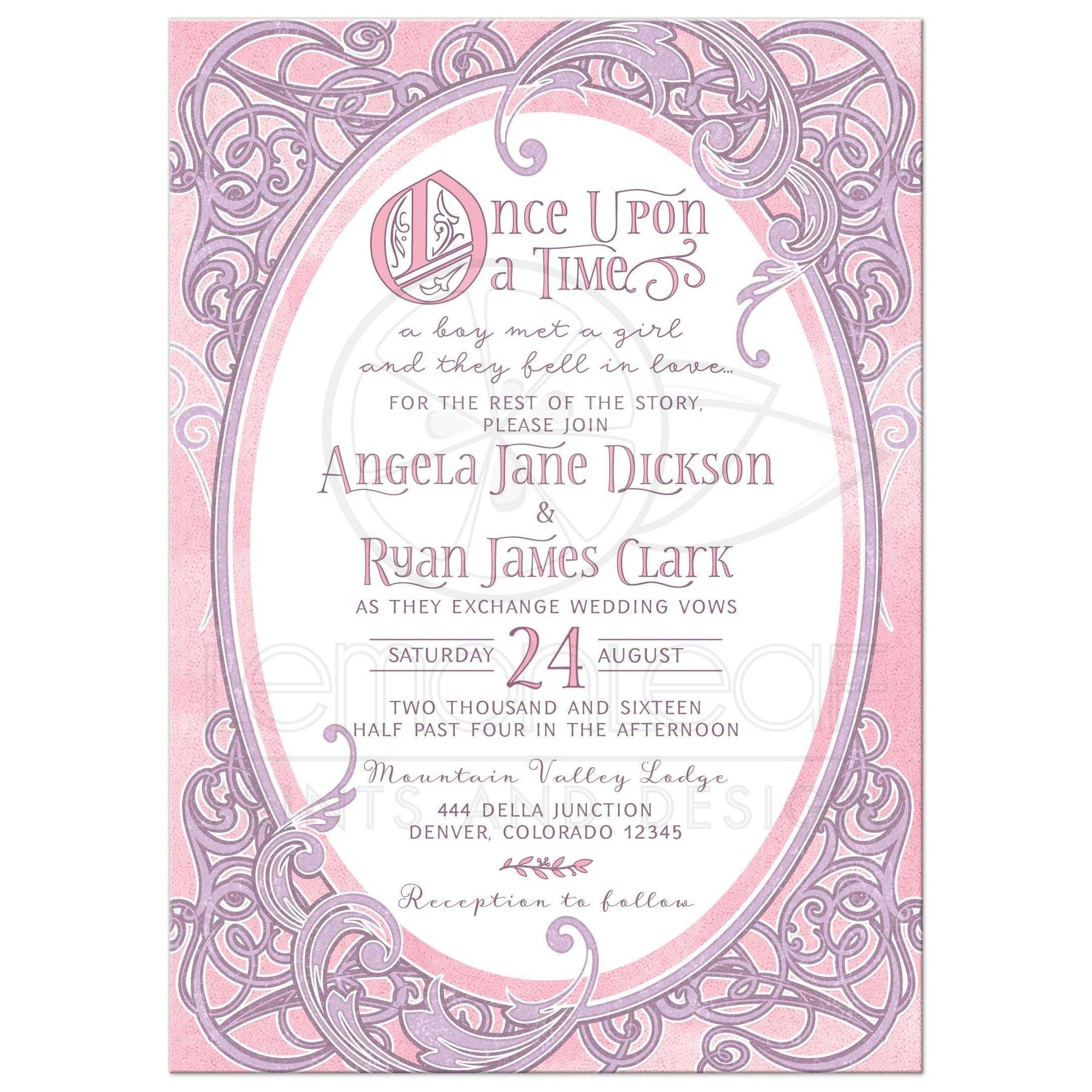 pink purple fairy tale wedding invitation once upon a time Time In Wedding Invitation pink and purple fairy tale once upon a time ornate frame wedding invitation front time in wedding invitation
