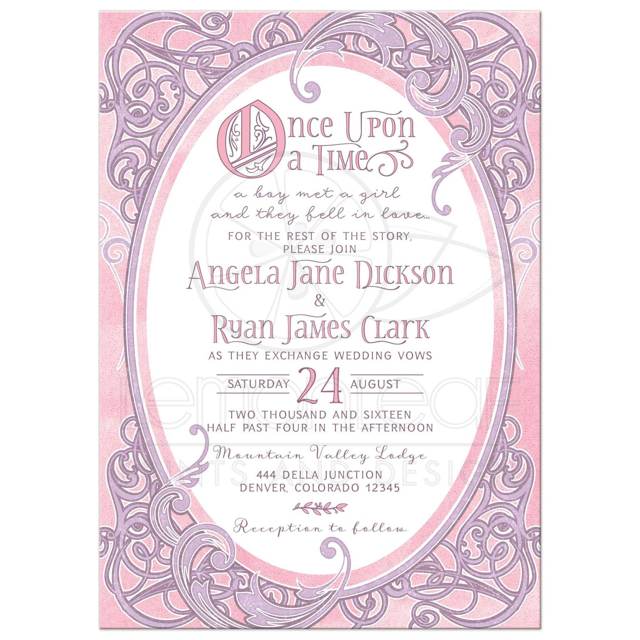 Superbe Pink And Purple Fairy Tale Once Upon A Time Ornate Frame Wedding Invitation  Front ...
