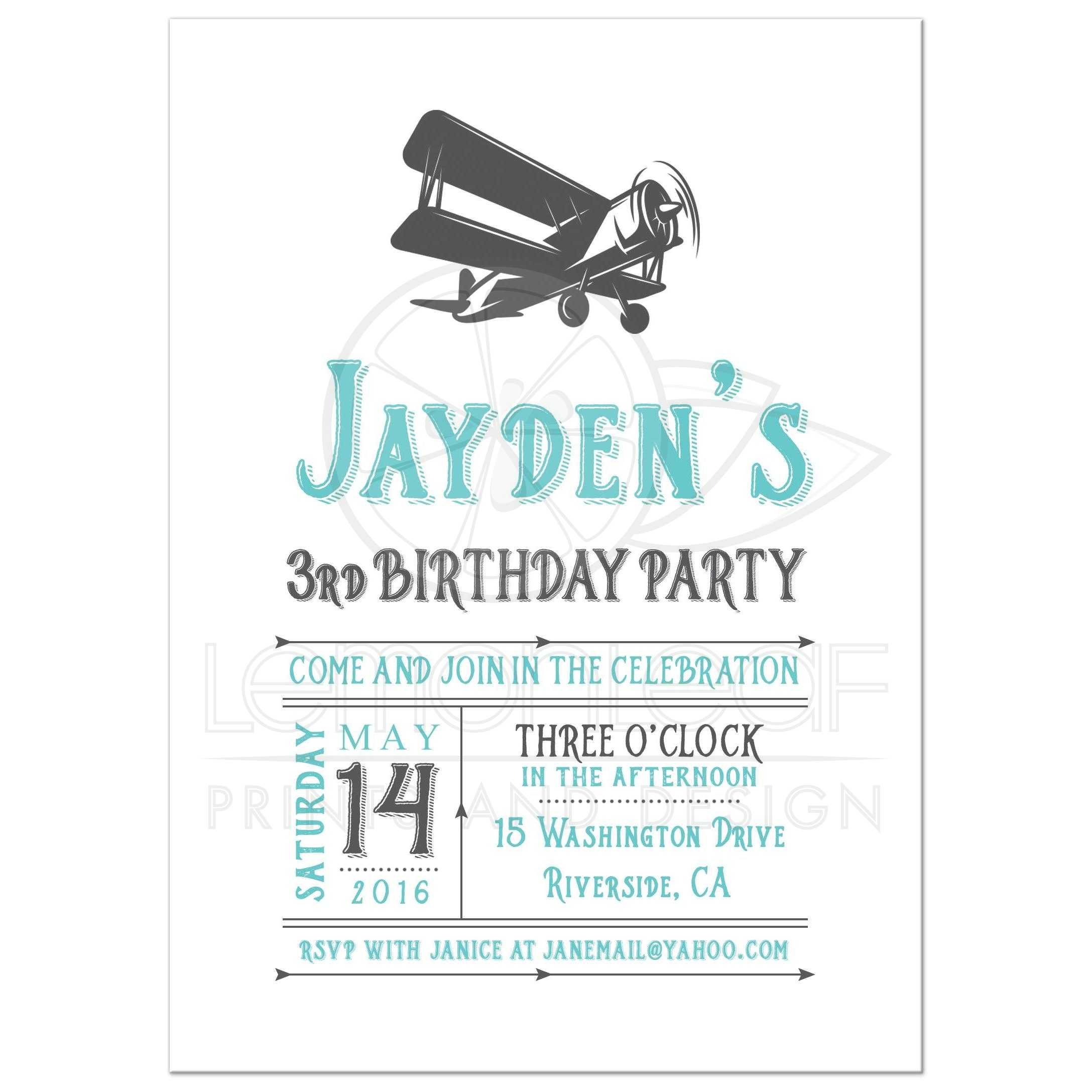 Vintage Airplane Birthday Party Invitation - Teal Blue and Gray
