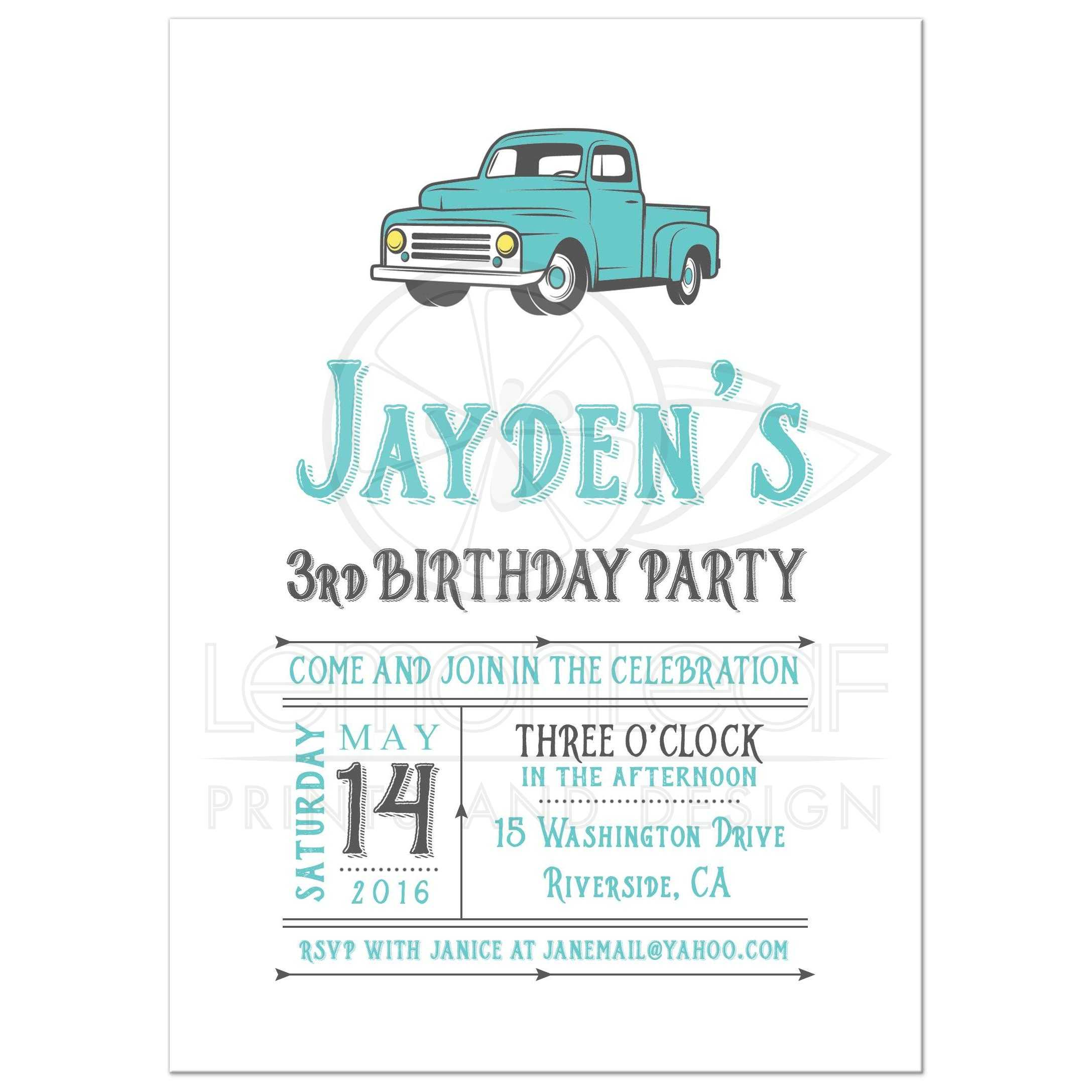 Vintage Truck Birthday Party Invitation - Teal Blue and Gray