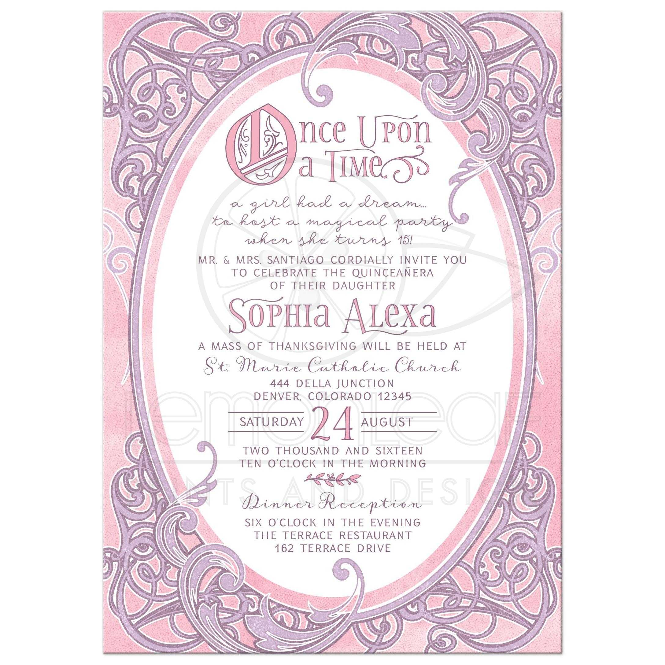 pink and purple fairy tale once upon a time ornate frame quinceaera invitation front