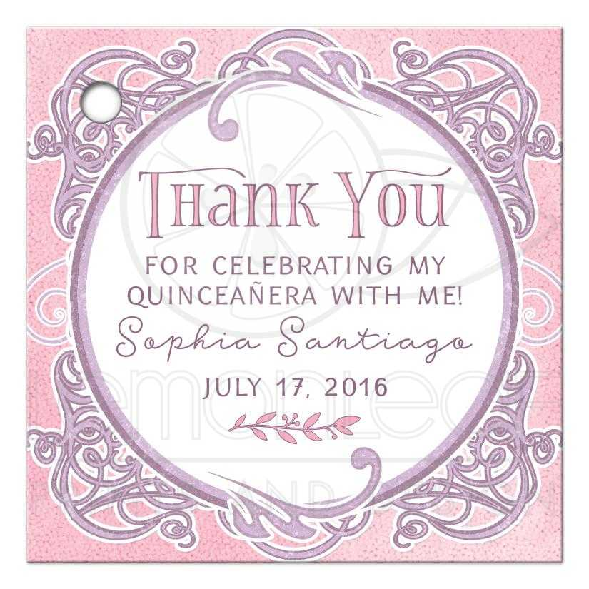 Pink Purple Fairy Tale Quinceañera Favor Gift Tags Ornate Frame