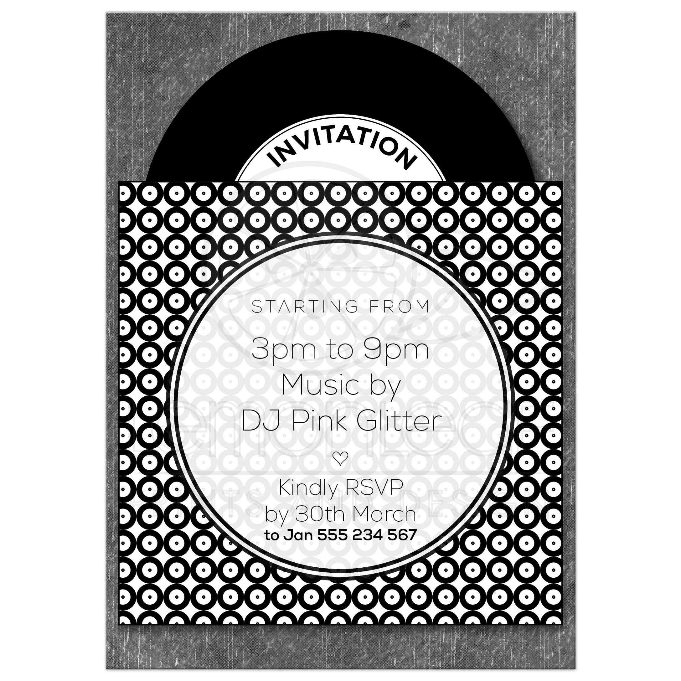 Vinyl Record Birthday Dance Party Invitation Black and White