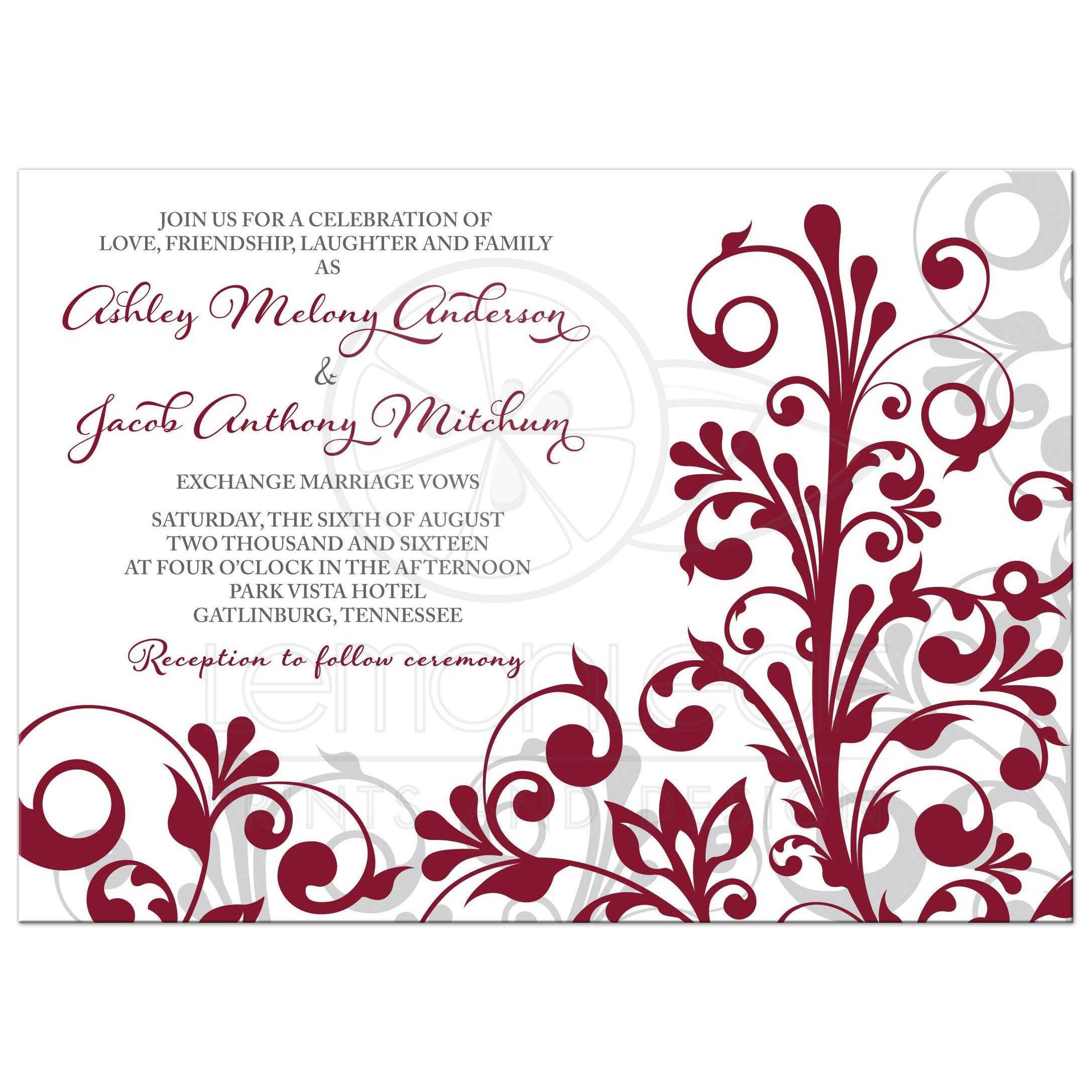 Burgundy Gray Abstract Floral Wedding Invitation