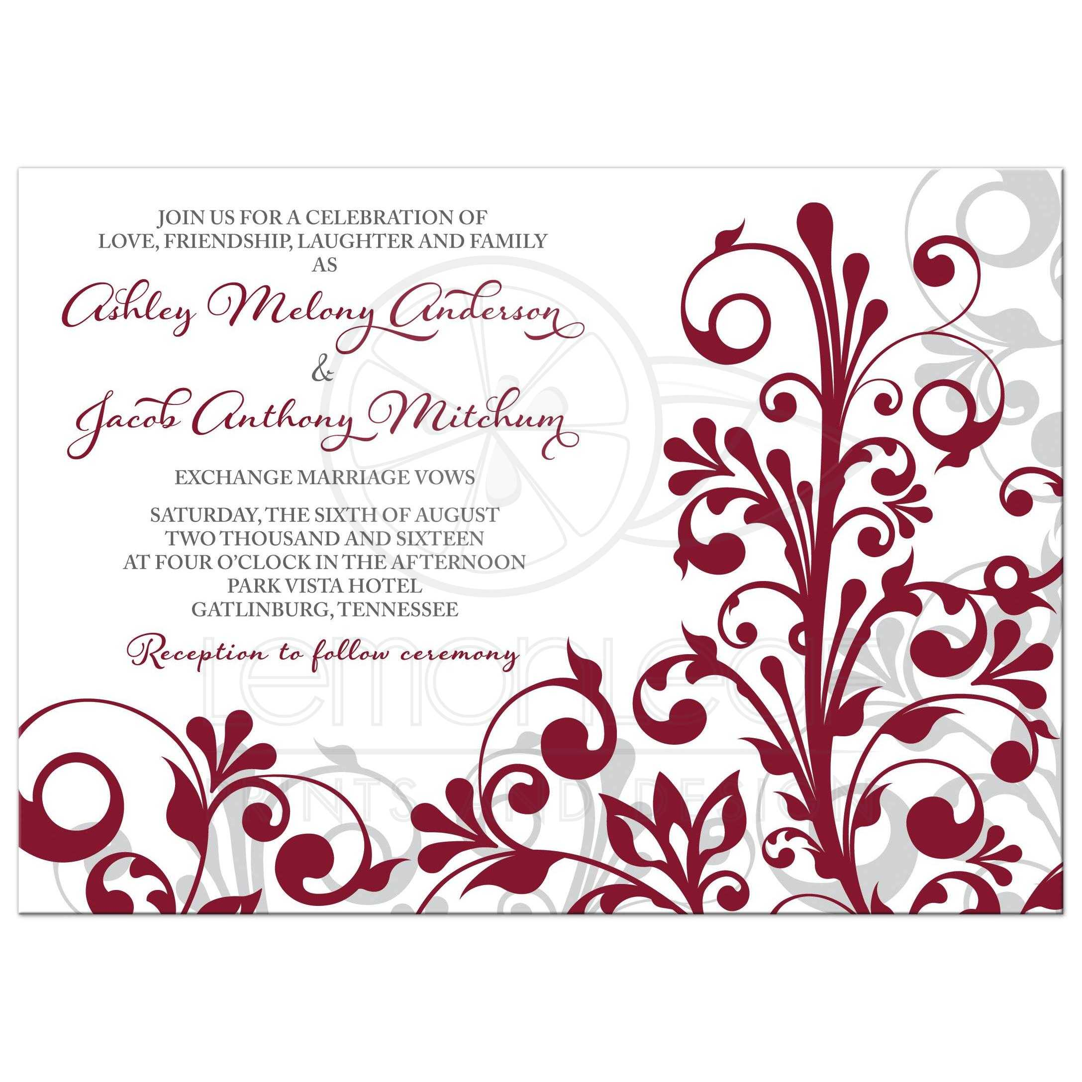 Burgundy, Gray And White Abstract Floral Wedding Invitation Front ...