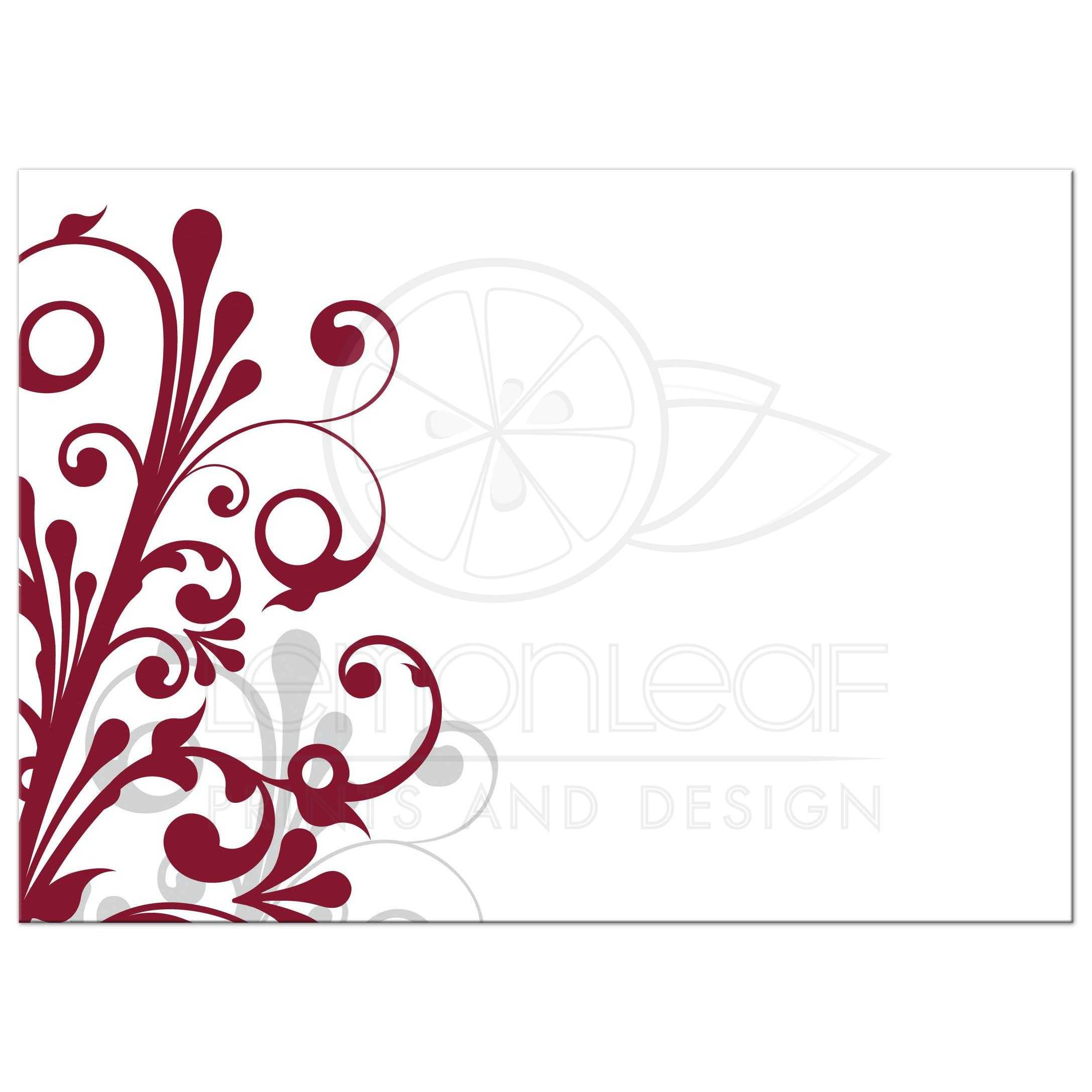 ... Burgundy, Gray And White Abstract Floral Wedding Invitation Back ...