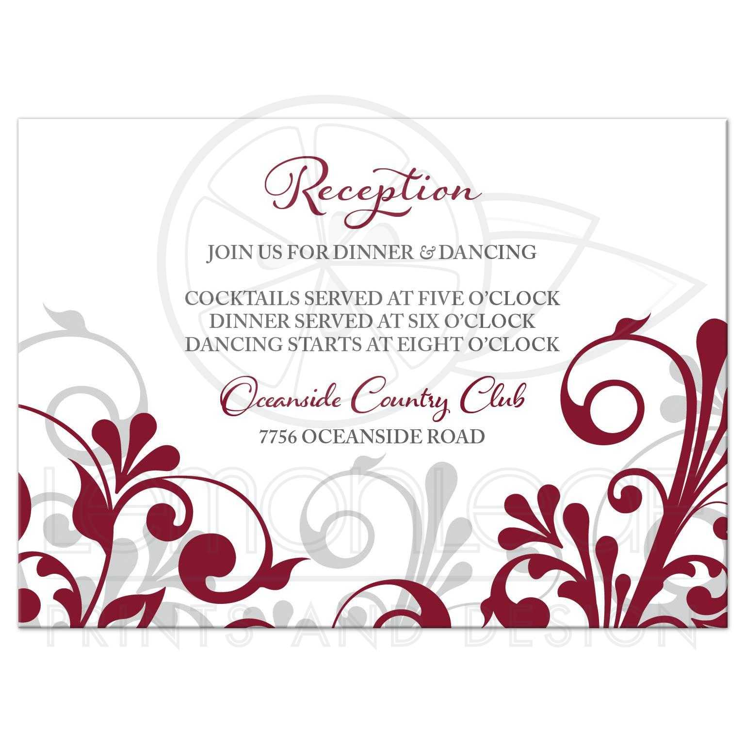 Burgundy Gray Abstract Floral Wedding Reception Card