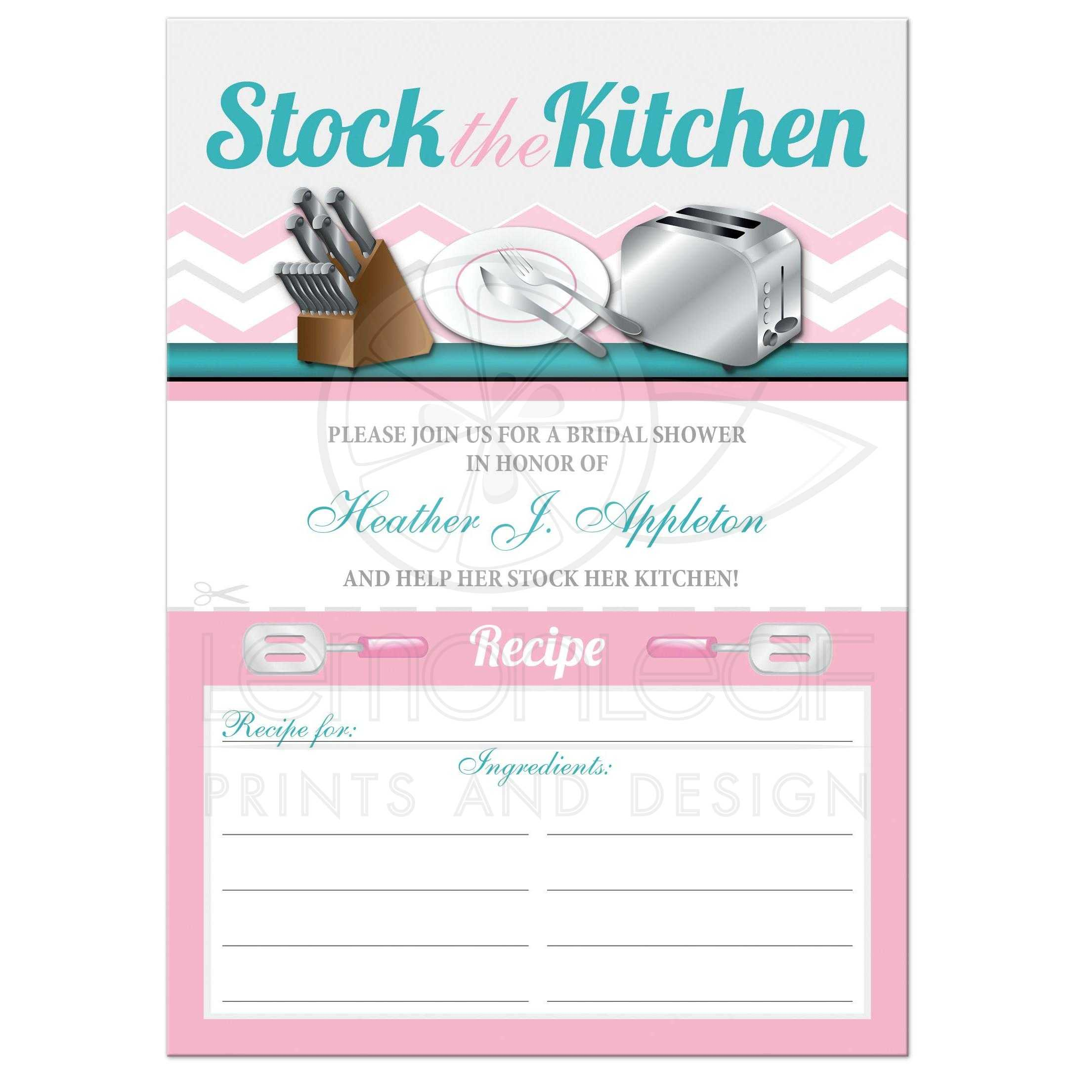 Bridal shower invitations stock the kitchen pink recipe card invites filmwisefo