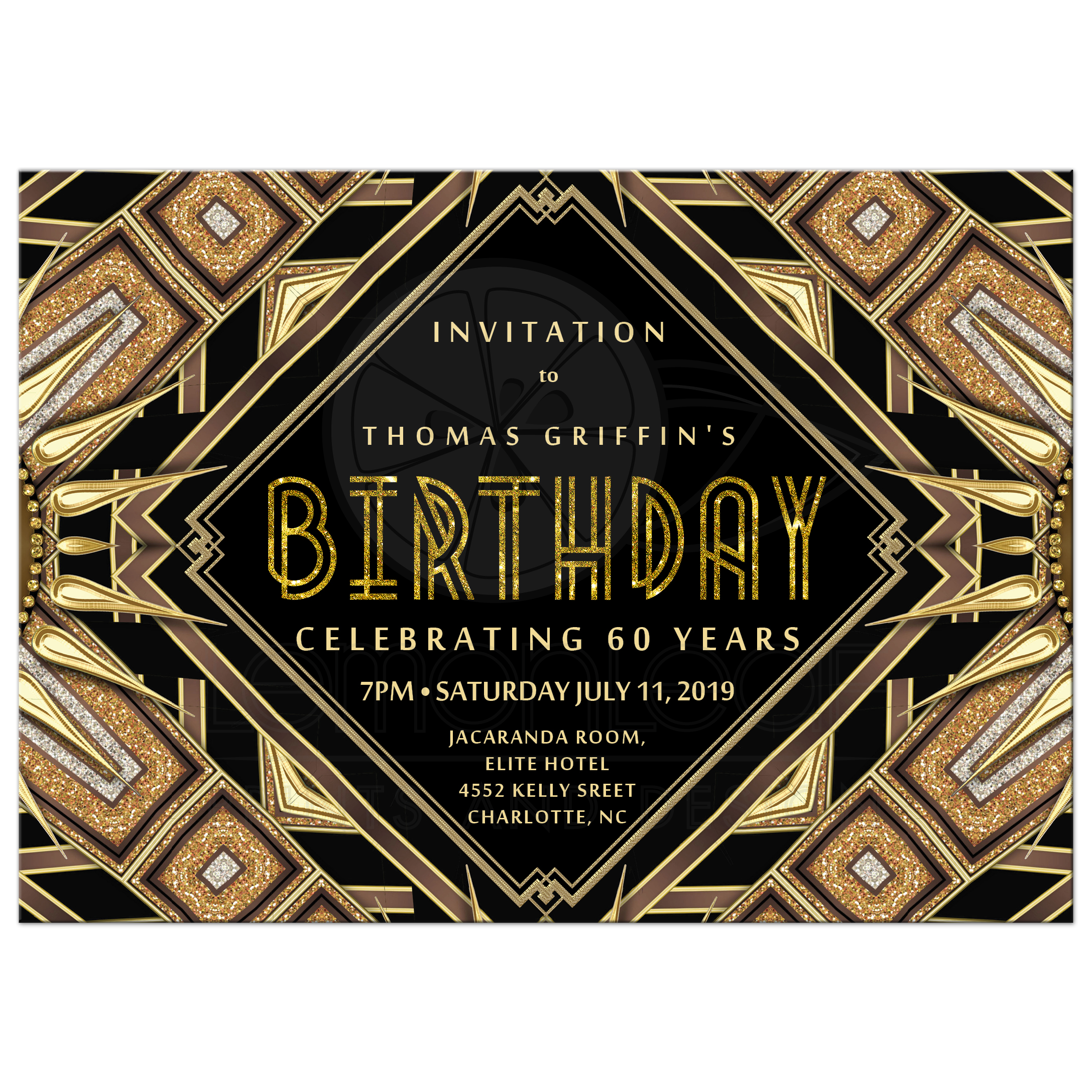 Art Deco Glam Gold Adult Birthday Invitation Card 5x7