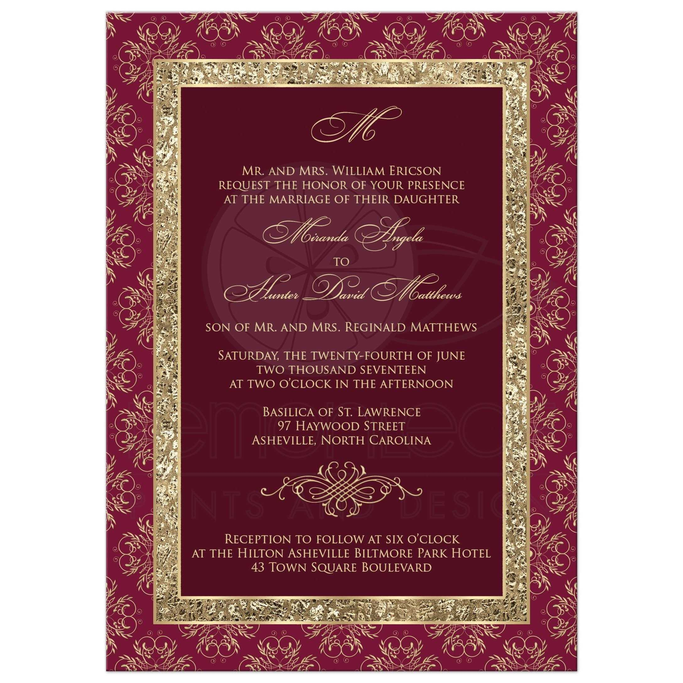Burgundy Gold Ornate Scrolls Wedding Invitation ...