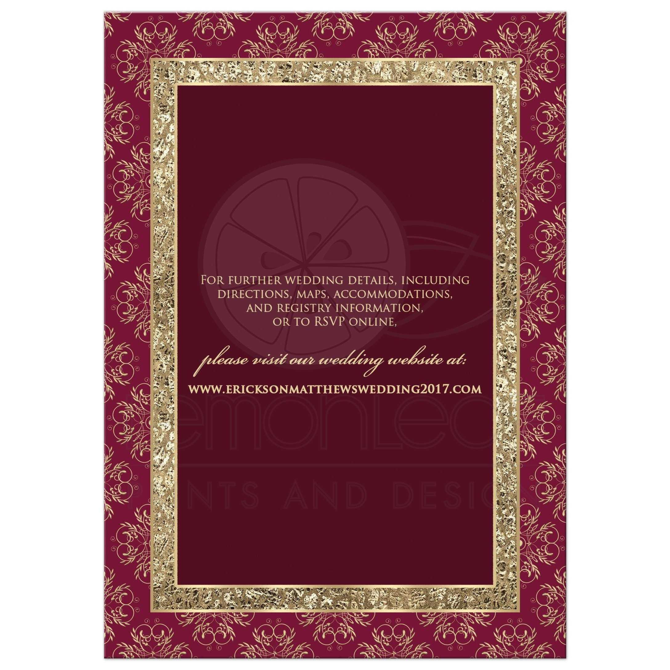 Wedding Invitation | Burgundy, Gold Elegance | Monogram