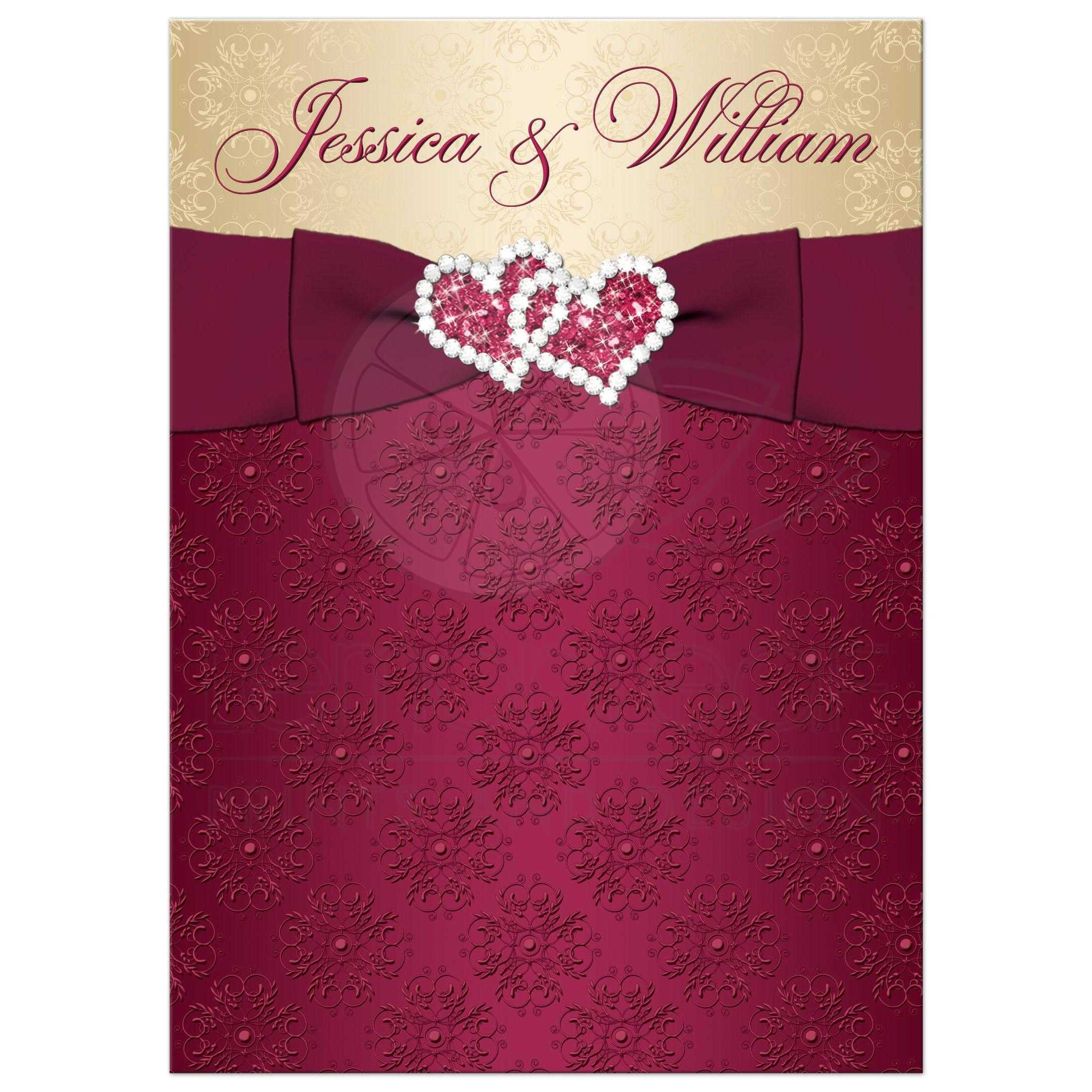 Great Burgundy And Gold Damask Scrolls Wedding Invitations With Ribbon Bow Jeweled Joined