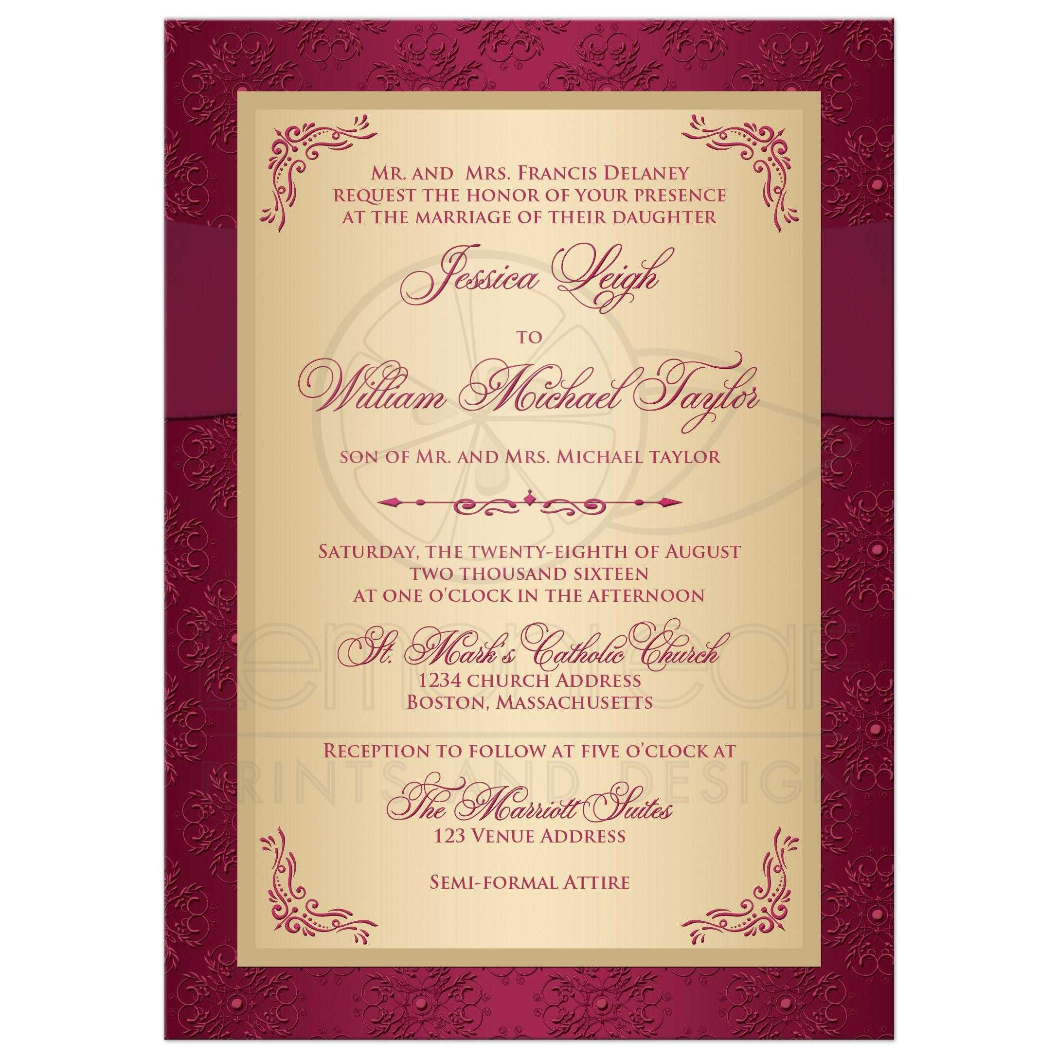 ... Best Maroon And Gold Damask And Scrolls Pattern Wedding Invites With  Ribbon, Bow And Jeweled ...