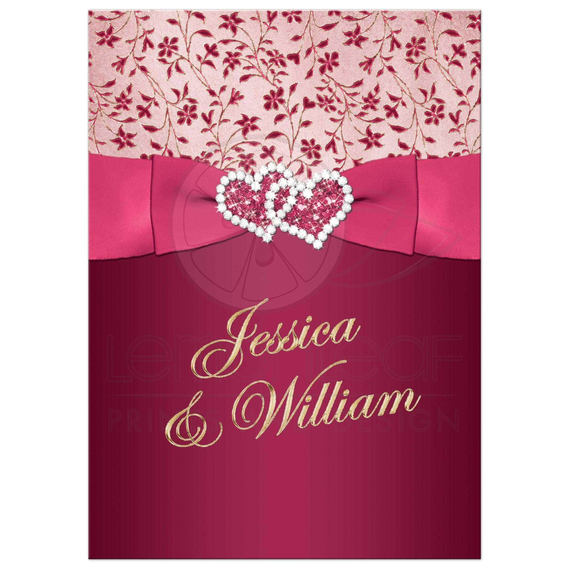 Great Burgundy Rose Pink And Gold Floral Wedding Invitations With Joined Jewel: Pink And Burgundy Wedding Invitations At Websimilar.org