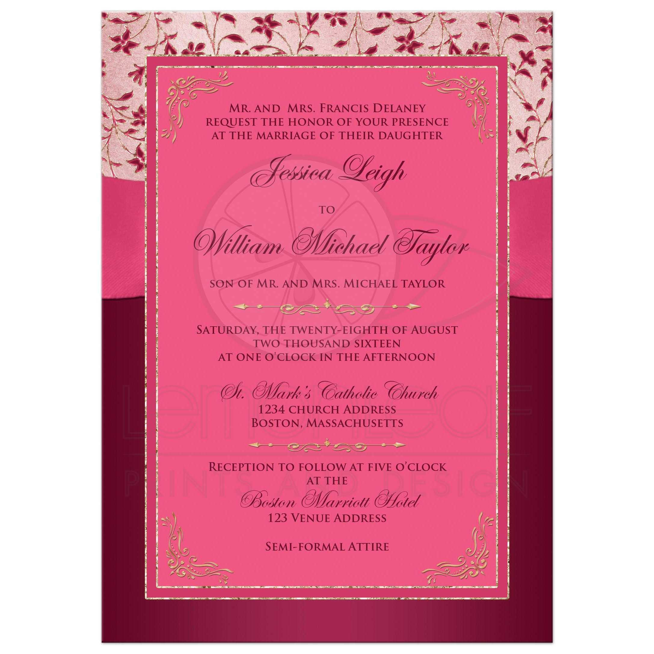Wedding Invitation Burgundy Pink Rose Gold Floral – Pink and Red Wedding Invitations