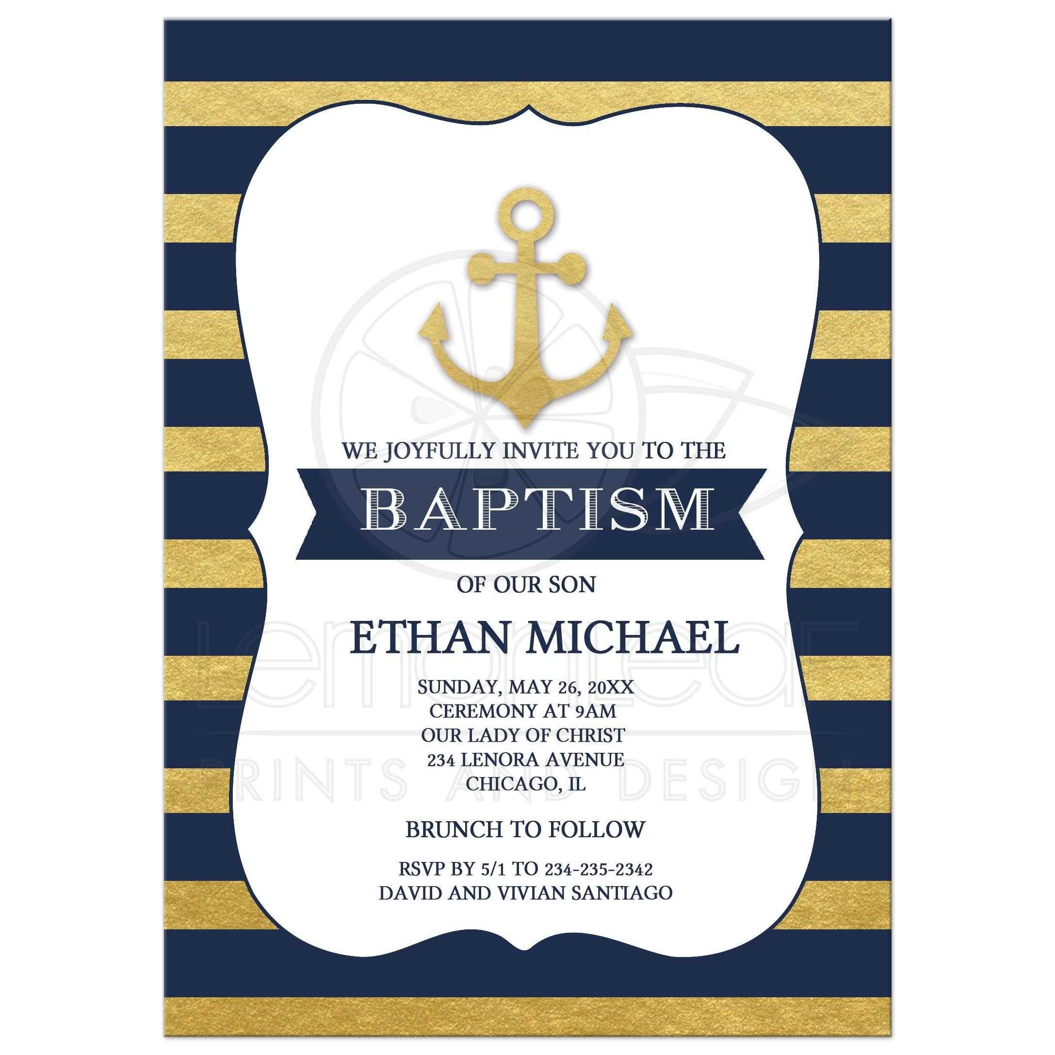 Anchor Nautical Gold and Navy Stripe Baptism Invitation