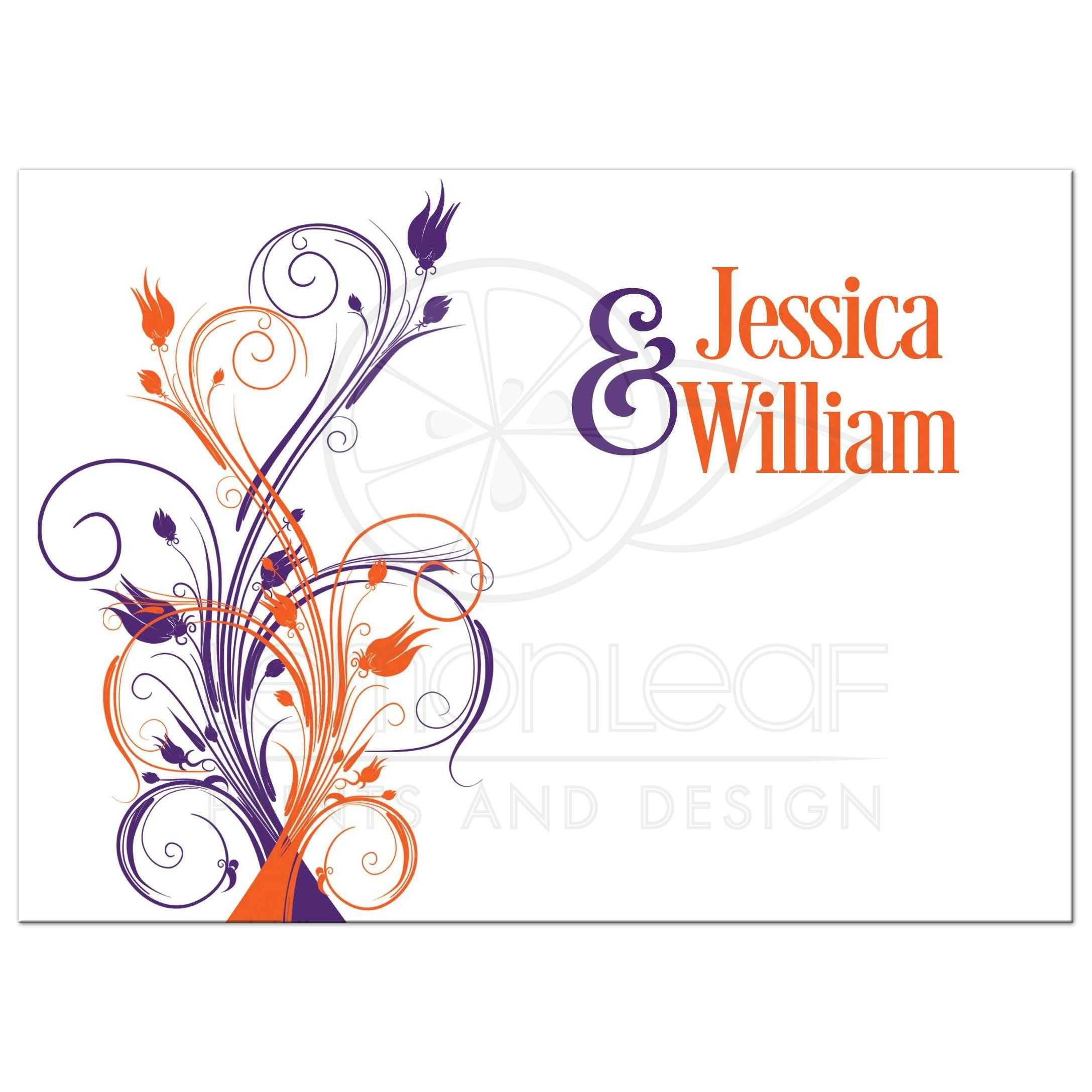 Wedding Invitation | Purple, Orange, White Floral, Butterflies