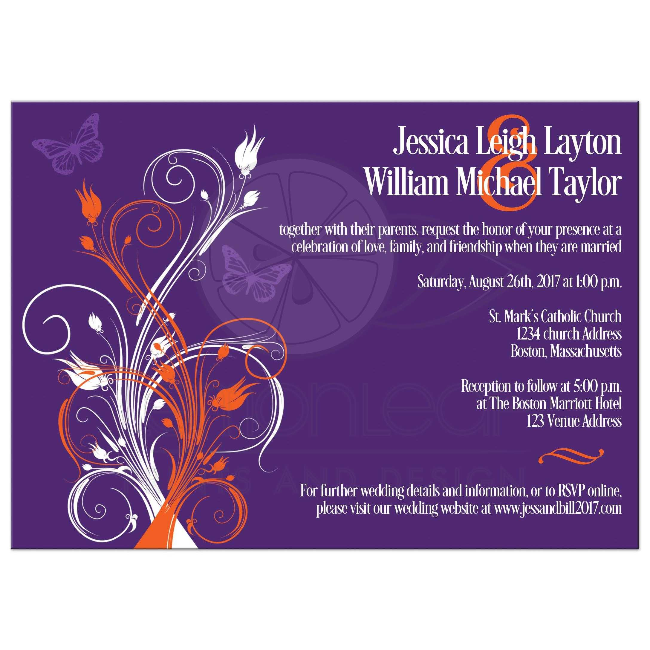 Best Purple Orange And White Wedding Invites With Butterflies Flowers Vines Modern