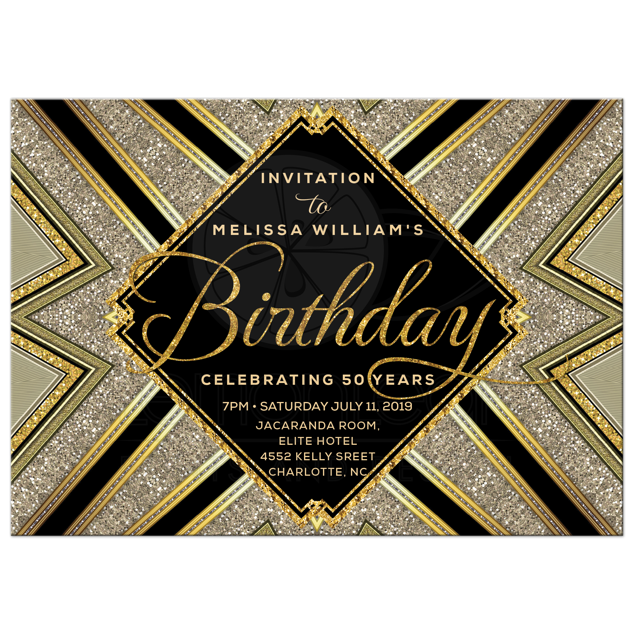 Sparkle Glam Deco Black and Gold Birthday Invitation