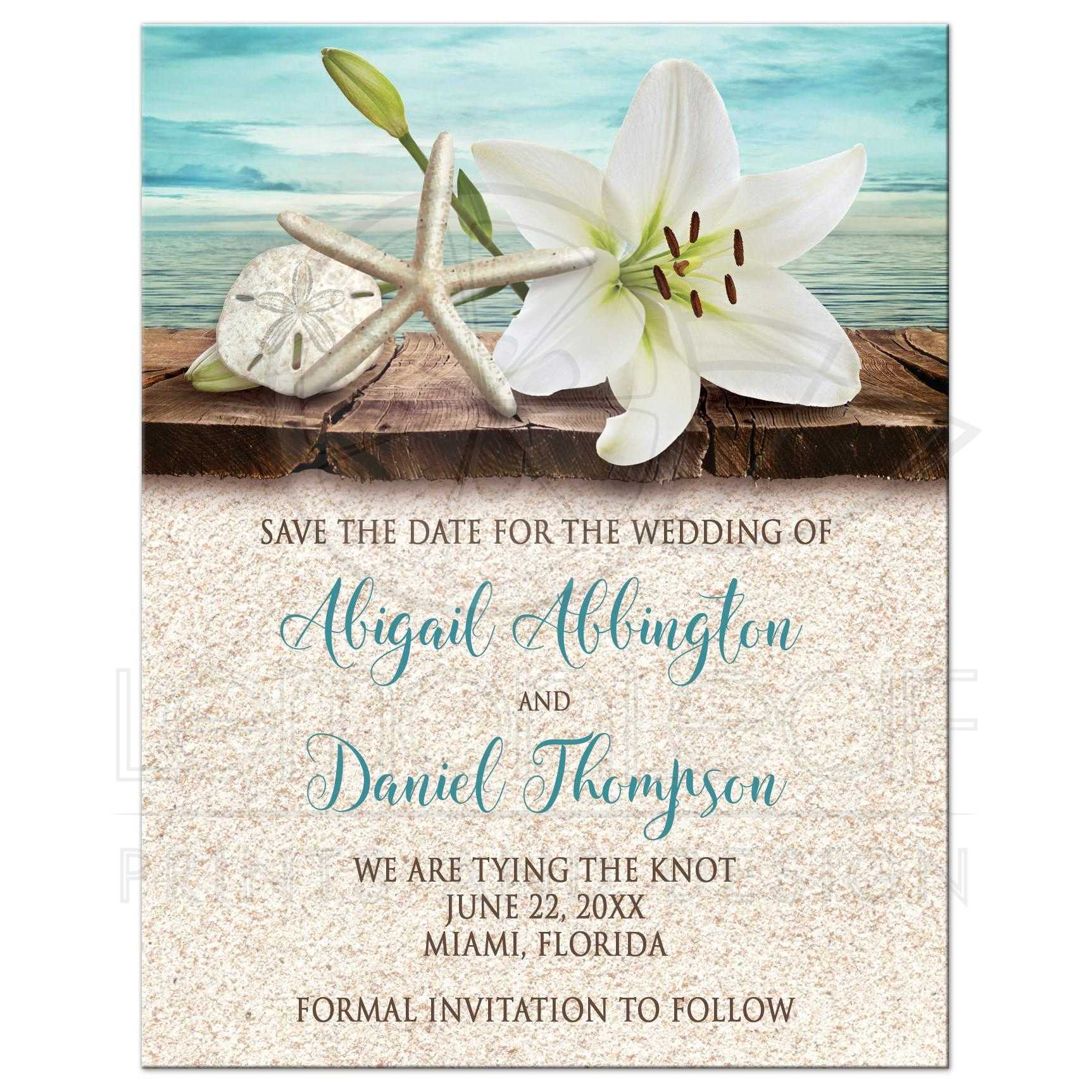 43256 Rectangle Lily Seashell Sand Beach Save The Date Cards New Jpg T 1470174980