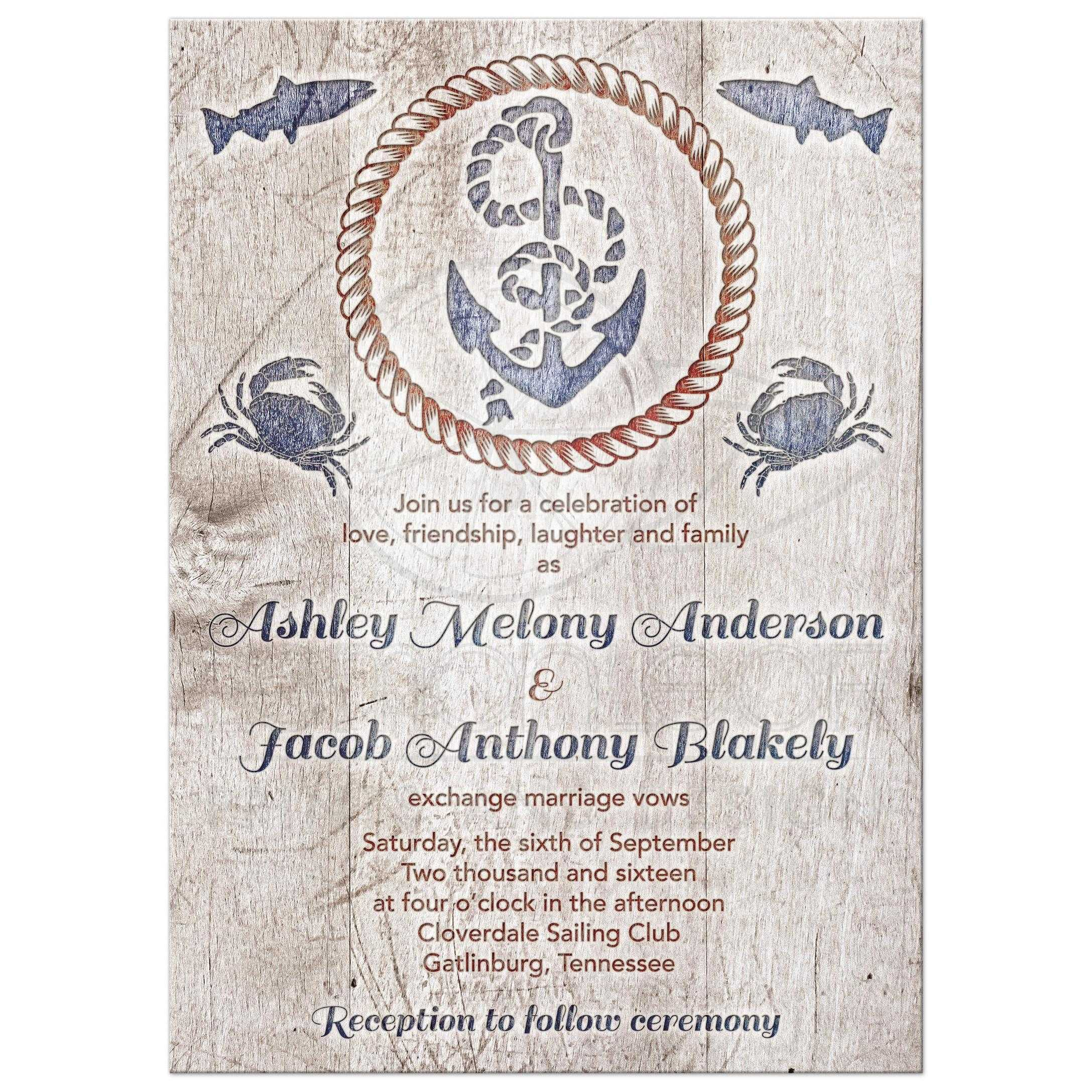 Rustic Nautical Wedding Invitation | Wood Plank Anchor Rope