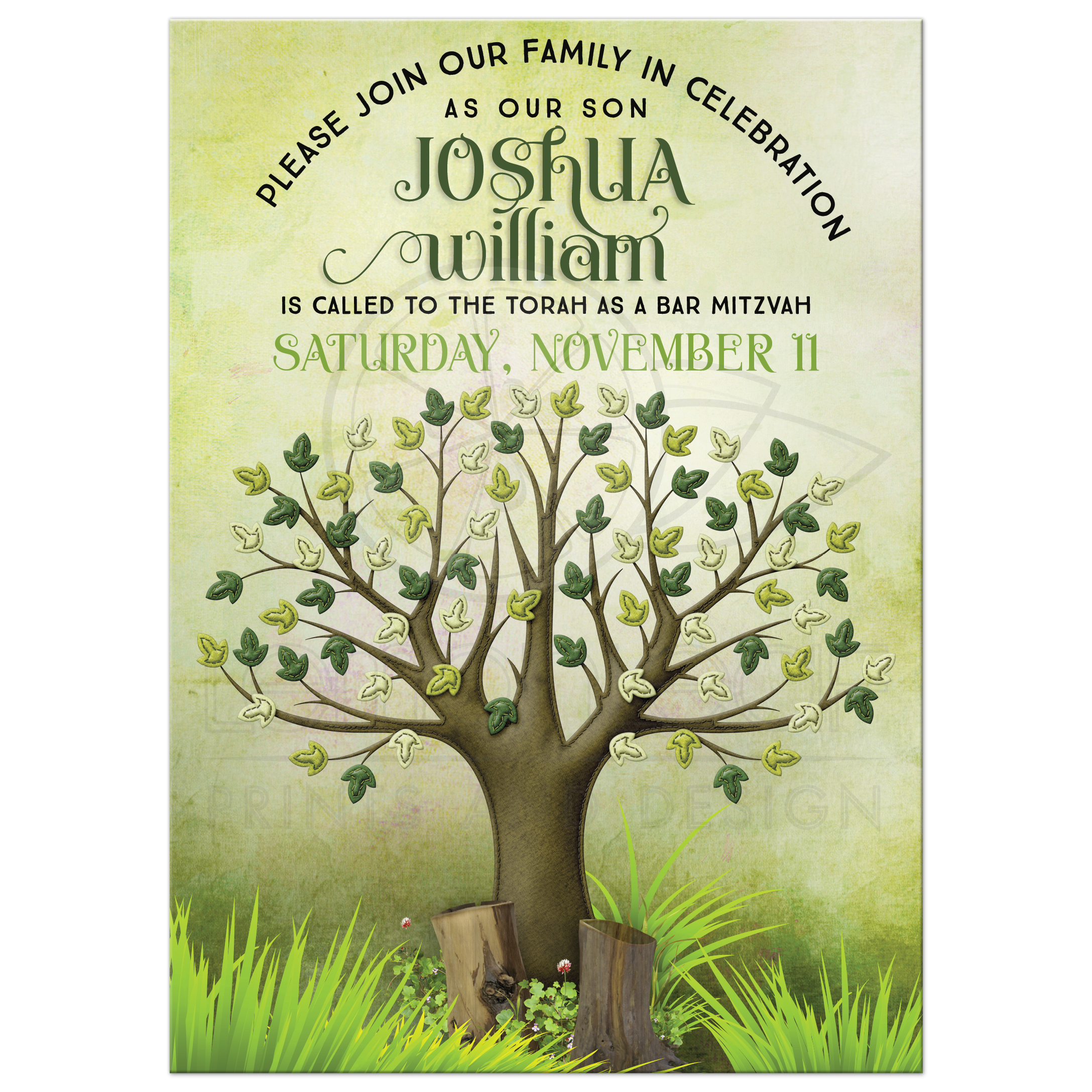 Spring Tree Of Life Bar Mitzvah Invitation