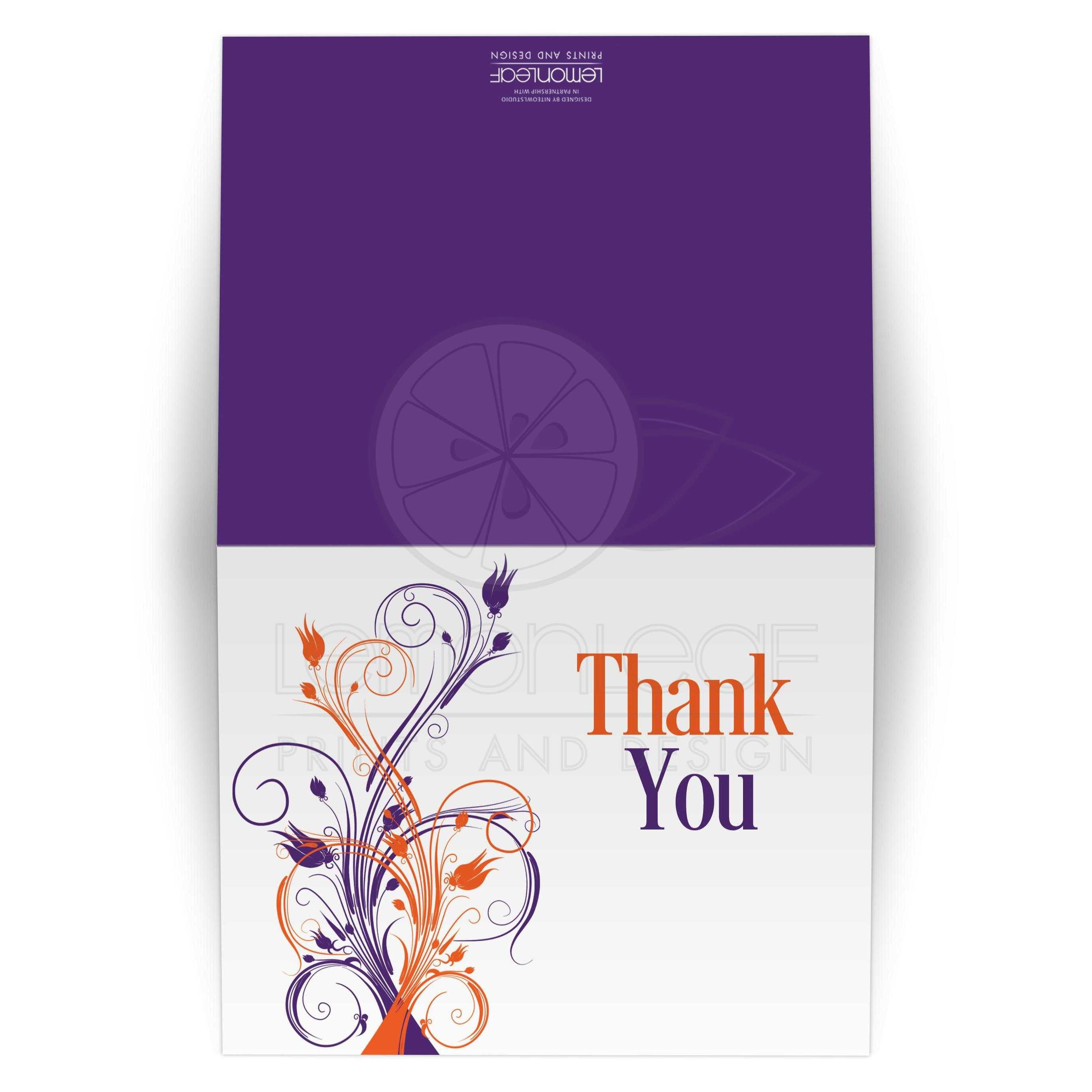Wedding Thank You Card Blank Purple Orange White Floral